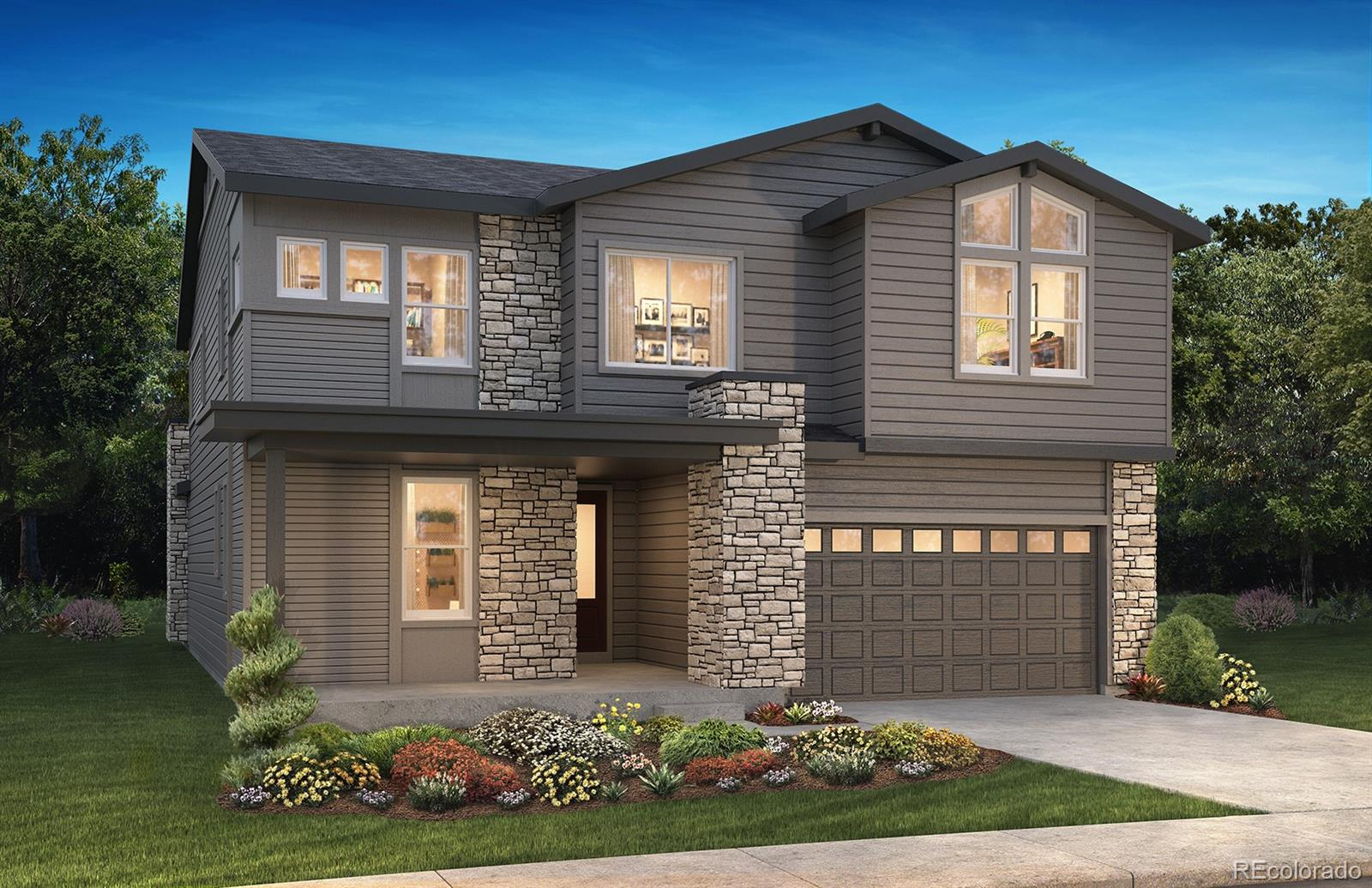 """Available April 2020. This gorgeous Zolla 2-Story in The Canyons features 5 beds (4 upper / 1 main), 4.5 baths, great room, dining room, gourmet kitchen, loft, unfinished basement for future expansion and a 3 car garage (2 + 1 tandem). Upgrades and design features of this home include: 36"""" GE Profile™ stainless steel gas appliances, Shaw Lazio Plus Sabbia wood-style laminate flooring, Aristokraft® Winstead Maple Burlap cabinetry, MSI Frost White quartz slab kitchen counters w/full tile backsplash, MSI Frost White quartz slab master bath counters, Fireplace with half height 12x24 horizontal stagger tile and mantel at great room, Barn doors at study and master bath, outdoor covered patio and more. This stunning home thoughtfully combines elegance and luxury.  Don't miss your opportunity.  Welcome Home!"""