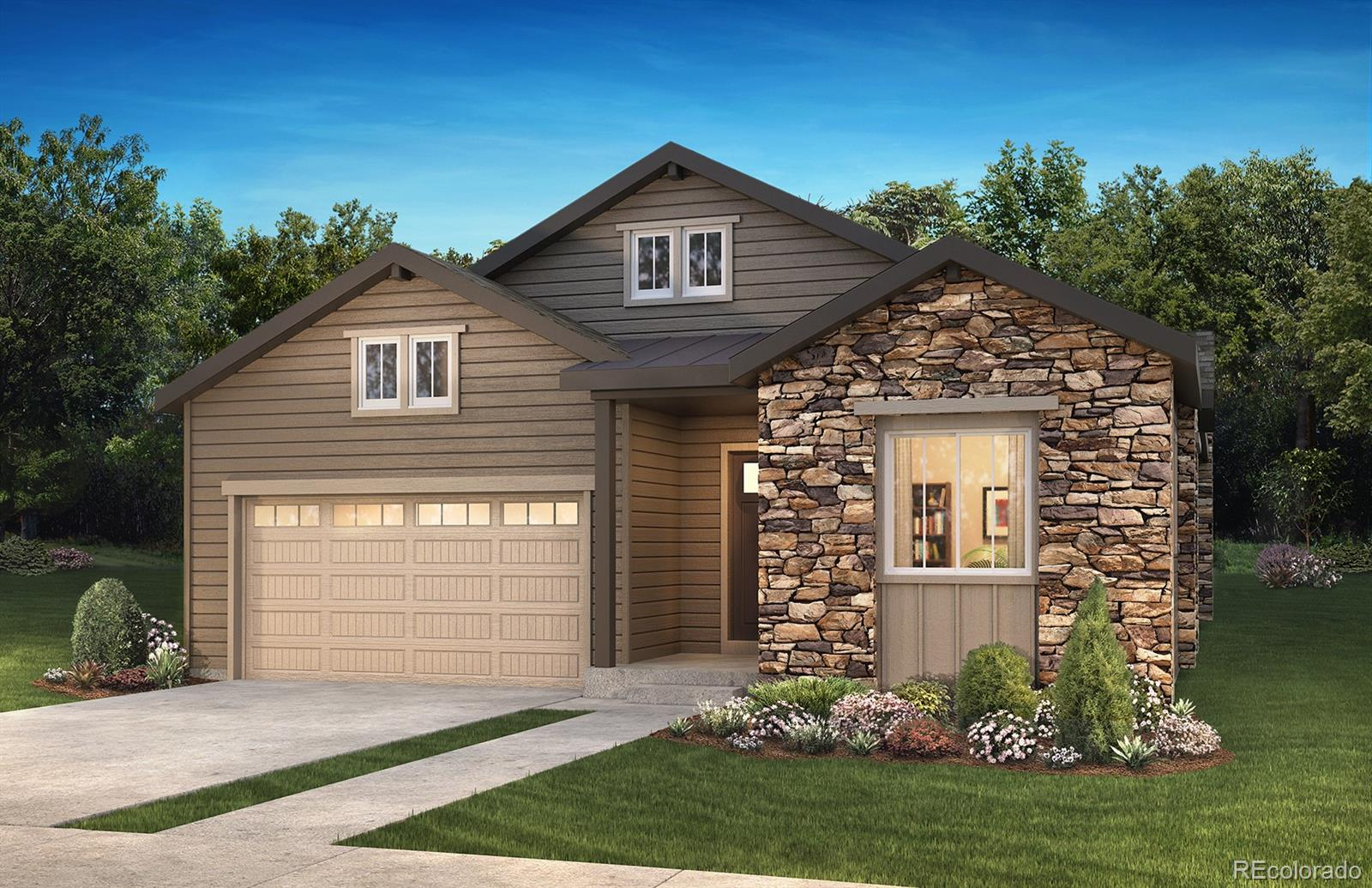 """Available April 2020. This stunning Avery ranch plan in The Canyons features 3 beds, 3 baths, great room, kitchen, dining room, study, unfinished basement for future expansion and 2 car garage.  Design finishes and upgrades include 36"""" GE Monogram™ stainless steel gas appliances, Evoke Blaire Vigor Oak wood-style laminate flooring, MSI Concerto quartz slab kitchen counters with a full tile backsplash, MSI Concerto quartz slab master bath counters, fireplace with full height 12x24 horizontal stagger tile and mantel at great room, Aristokraft® Brellin Purestyle White cabinetry, barn doors at master bath, laundry room with sink, Craftsman iron stair rails and more. This beautiful home thoughtfully combines elegance and luxury. Don't miss your opportunity. Welcome Home!"""