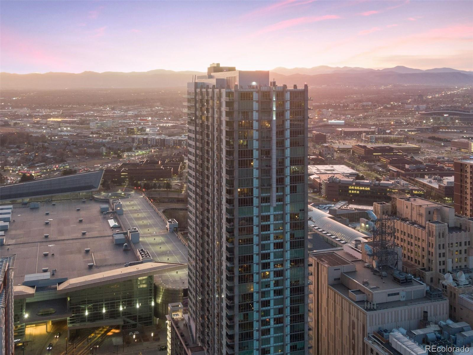 ***Motivated Seller*** Spectacular corner unit with rare 2bd/3ba floor plan! Incredible views from every window! Inviting open plan with floor to ceiling windows to showcase the views. Upgrades you'll find include motorized blinds in all rooms ($18k), painted ceilings ($12k) and a fully enclosed 2nd bedroom ($5k). Includes rare TWO deed parking spaces (#338/340), a deeded motorcycle space (#10), and 2 storage units (all on 5th floor). Don't miss the great amenities (9th floor) that include year round outdoor heated pool, 2 hot tubs, outdoor grilling area, fire pit, large fitness center, theater room, garage dog park, yoga garden, 24-hour courtesy desk, and furnished guest suites. Conveniently located next to the Convention Center, Performing Arts Center,16th Street Mall, and Light-rail. All seller owned furniture is negotiable for purchase.