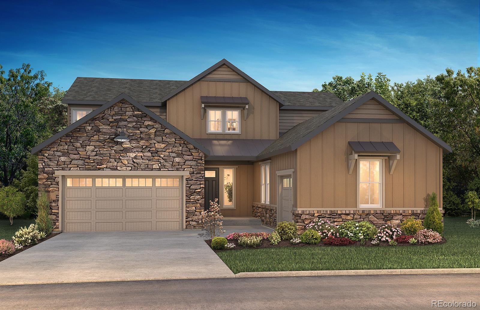 """This gorgeous 2-story Stonehaven in The Canyons features 5 beds (2 main / 3 upper), 5.5 baths (each bedroom has a private bath), great room, dining room, gourmet kitchen, main floor laundry, unfinished walk-out basement and 3 car garage (2 + 1 bay). Beautiful designer finishes and upgrades throughout including 48"""" GE Monogram stainless steel gas appliances including GE Cafe French door refrigerator and GE Monogram beverage center refrigerator; Shaw Supino Ardesia wood-style laminate floors, tile floors in the bath and laundry rooms, Carrara Mist engineered stone counters with a full tile backsplash at the kitchen, Stellar Gray engineered stone counters at the master bath and KitchenCraft® Salem Nimbus and Alabaster cabinetry; Great room with primo fireplace with stacked stone and multi-slide sliding glass door; Craftsman stair rail with iron balusters; Main-floor laundry with sink, front loading washer and dryer included. This stunning home thoughtfully combines elegance and luxury. Don't miss your opportunity. Welcome Home!"""