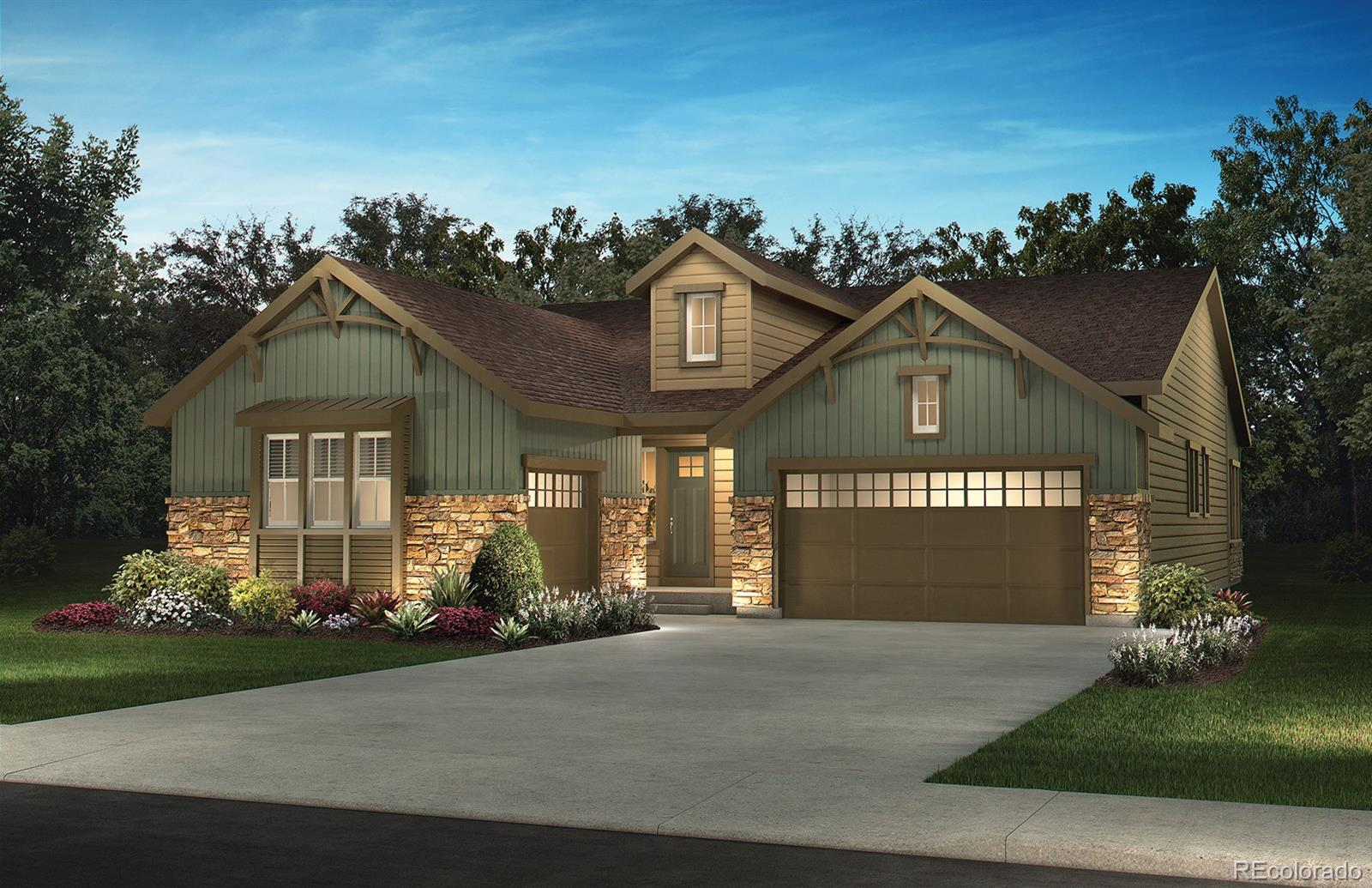 Available September 2020! Gorgeous Coulter Pine ranch plan features 2 beds, 2.5 baths, study, great room, kitchen, unfinished basement for future expansion, 2 + 1 car garages and more.  Gorgeous finishes and designs throughout.  Design finishes include Mannington Restoration Palace Plank Stone wood-style laminate floors, tile floors in the bath and laundry rooms, Carrara Mist engineered stone kitchen counters with a full backsplash, Pebble Rock engineered stone master bath counters, Merillat Classic Maple Cotton kitchen perimeter cabinetry and Maple Basalt cabinetry in the reminder of the house. The spacious kitchen includes a large island, walk-in pantry and breakfast nook.  The great room opens to the kitchen and has a cozy gas fireplace.  Other finishes and upgrades include a utility sink in the laundry, optional wrought iron railing, tile floors in the bath and laundry room.  HOA Fees are included in property taxes.  Close to dining, shopping, entertainment and other amenities. Easy commute to Southlands, Lone Tree, DTC, Denver and beyond.  Don't miss your opportunity.