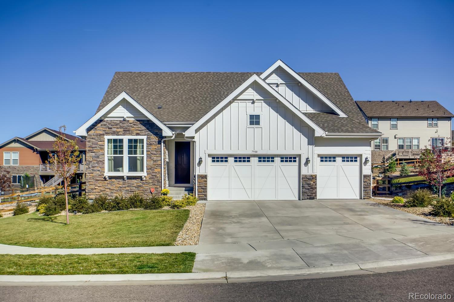 This gorgeous ranch plan in The Estates at Ponderosa Ridge features 3 beds (2 main / 1 bsmt), 3.5 baths, living room, main floor study, kitchen, basement family room, wet bar, 2 + 1 car garage and more. This home lives large!  The finished basement is perfect for guests or teen wanting their own space.  Over $109,000 in upgrades. The open floorplan is perfect for entertaining or family dinners.  Beautiful upgrades and finishes throughout.  The energy efficient furnace, central air and gas fireplace keep this home comfortable all year long. Enjoy backyard parties on the patio in the spacious backyard.  The many windows on both the main and basement levels allow natural sunlight to cascade in, keeping this home bright and cheerful.  Meticulously maintained - pride of ownership shines throughout this beautiful home.  Close to dining, shopping, entertainment and other amenities.  Easy commute to Southlands, Lone Tree, the DTC and beyond and a short drive to Aurora Reservoir.  Don't miss your opportunity. Welcome Home!