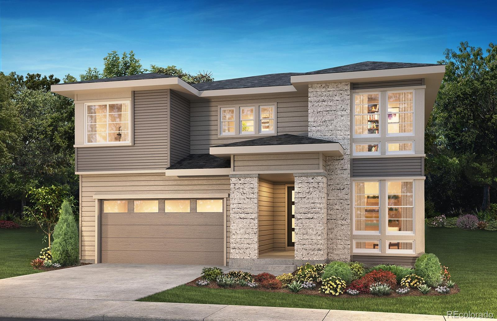 """Available June/July 2020! This gorgeous Emerson 2 story in The Canyons features 4 beds, 3.5 baths, loft, upper laundry, great room, dining area, kitchen, 3 car garage (2 + 1 tandem), unfinished walk-out basement and more. Beautiful design finishes and upgrades include 36"""" GE Cafe™ stainless steel gas appliances; Aristokraft® Brellin Purestyle Glacier Gray and Winstead Maple Flagstone cabinetry; Fireplace with full height stacked tile and mantel at great room; Kitchen with large island and walk-in pantry; Covered outdoor living area with optional gas line; Craftsman iron stair rails; tile in all wet areas. This beautiful home thoughtfully combines elegance and luxury. Don't miss your opportunity. Welcome Home!"""