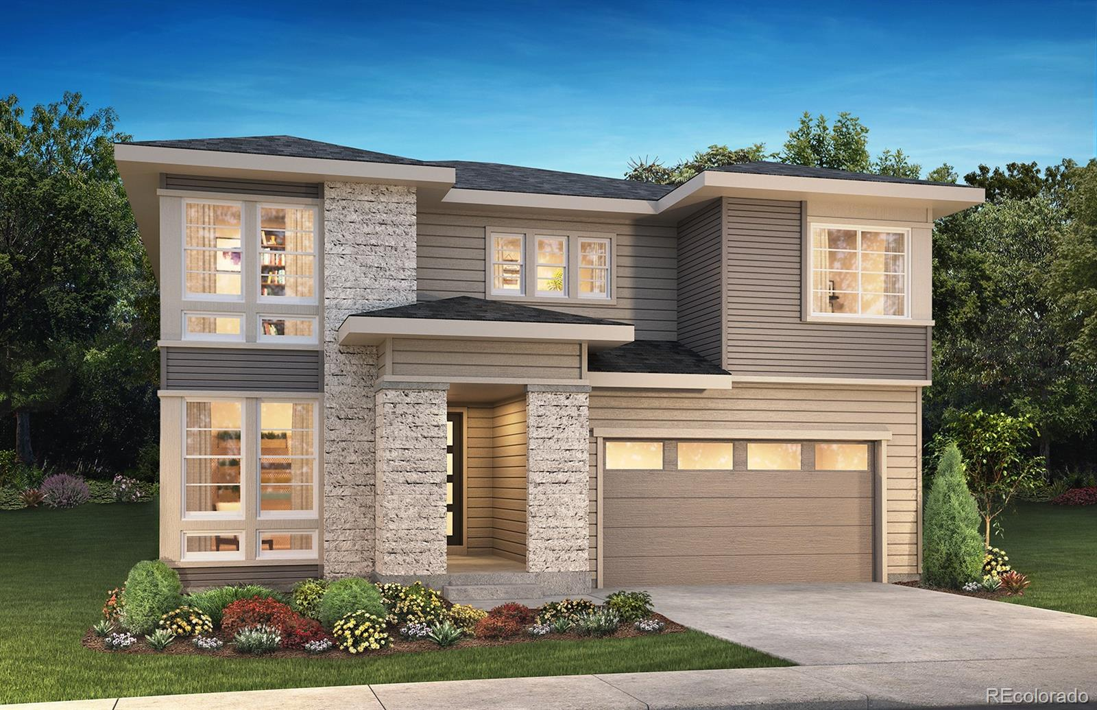 """Available September 2020! This gorgeous Emerson 2 story in The Canyons features 4 beds, 3.5 baths, loft, upper laundry,great room, dining area, kitchen, 3 car garage (2 + 1 tandem), and unfinished walk-out basement. Beautiful designfinishes and upgrades include 36"""" GE Cafe™ stainless steel gas appliances; Aristokraft® Lillian Purestyle White andLanden Maple Flagstone cabinetry; Fireplace with full height stacked tile and mantel at great room; Kitchen with largeisland and walk-in pantry; Covered outdoor living area with optional gas line; designer framed mirrors in bathrooms; tile in all wetareas and more. This beautiful home thoughtfully combines elegance and luxury. ENERGY STAR Certified Home.  Don't miss your opportunity. Welcome Home!"""