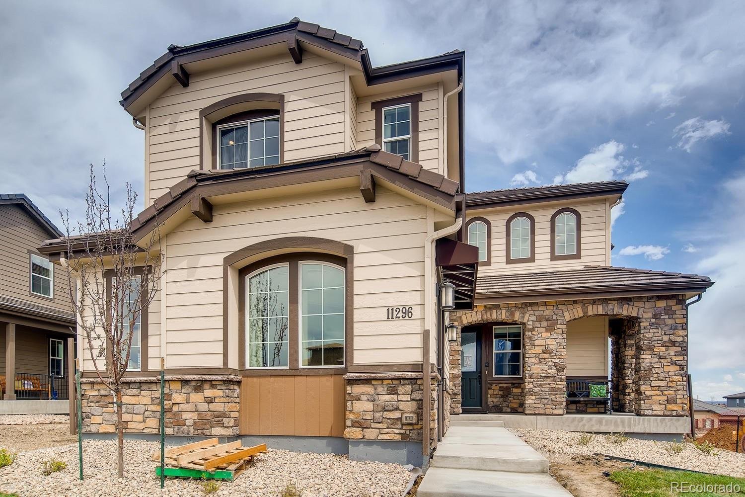 """Gorgeous, one-of-a-kind Shea Evergold 2 story sales model Home available September/October 2020.  Backs to an open space and features 5 beds (4 up / 1 main), 5.5 baths, kitchen, great room, bonus/flex room, dining room, upper laundry, loft, unfinished garden level basement, 4 car garage spaces (2 + 2 garages)  This home has it all.  Beautiful high-end design finishes & upgrades throughout and loaded with custom built-ins, beams and so much more. Large Kitchen with Island, Prep Sink, GE Profile Appliances including Refrigerator, and Monogram Beverage Center; KitchenCraft White and Grey 42"""" Maple Cabinets with Roll-out Shelves and beautiful Quartz Countertops Throughout; Ample Storage with Custom Walk-in Pantry; 72"""" Dual-sided Primo Fireplace in Great Room with Floor to Ceiling Tile Surround, and 6x36 Tile Floors; Main Floor Bedroom with En-suite Bathroom; Spacious Valet/Mudroom with Bench & Walk-in Closet; 8' Doors Throughout including Barn Doors at Loft; 2 story foyer and great room; Extended Covered Deck with Outdoor Fireplace and Gas Line for Grilling; Landscaping and partial fencing. This stunning home thoughtfully combines elegance & luxury and is designed with today's busy lifestyle in mind. Don't miss your opportunity. This is a must see. Welcome Home!"""