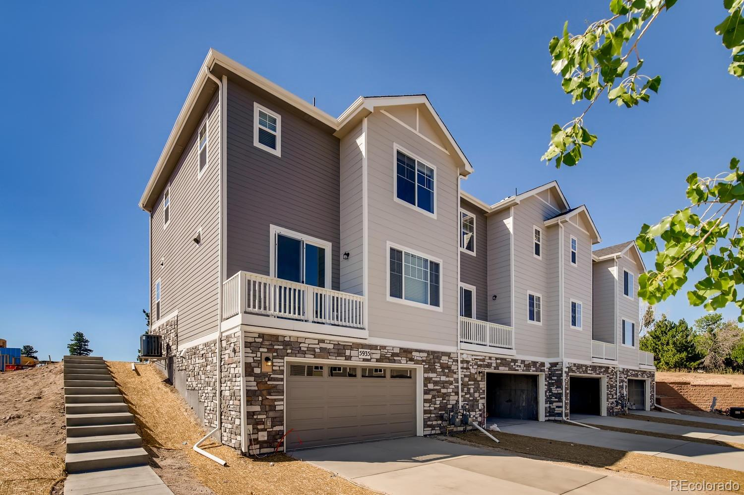 """Luxury Townhome in the heart of Castlerock with an early 2021 completion! The beautiful Adderbrooke is a 2 bed, 2.5 bath, with oversized attached 2 car garage. Kitchen includes stainless steel appliances, granite countertops, gas range, dishwasher, and built-in microwave.  Open floorplan with spacious living area, kitchen island, dining space, and is perfect for entertaining.  Both bedrooms have en-suite bathrooms providing privacy and making it a great roommate layout.  Upstairs laundry conveniently located near both bedrooms, and loft area makes for a cozy office space.  Includes energy-efficient furnace, A/C, tankless water heater, and 2"""" white blinds. Right outside your back door, you can enjoy miles of walking trails through the beautiful scenery of the nature filled canyons. Don't miss out on living at The Enclave, just moments away from major highways, shopping, dining, award winning Douglas County Schools, and multiple outdoor activities!"""