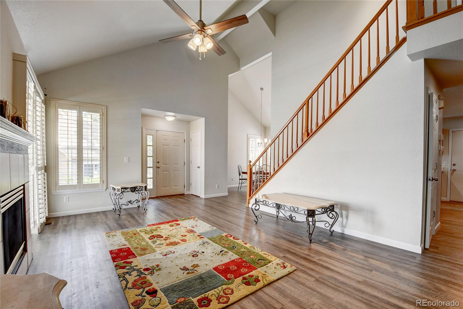 This nicely updated 3 bed/3 bath townhouse is a must see! As you enter the living room you are greeted with new floors, fresh paint, vaulted ceilings and tall windows that create a bright spacious, yet cozy atmosphere. The generously sized kitchen features an island and tons of cabinets and again, new flooring and paint! Head upstairs to the fabulous master suite that offers vaulted ceilings, an office/nursery, and a 5-piece bathroom. The finished basement boasts a family room, full bathroom, and spacious bedroom. Enjoy the convenience of the two car attached garage! Plantation shutters throughout home! Centrally located near Iliff Square that offers several opportunities for dining and shopping. Easy access to I-225 for a quick trip to DIA or downtown Denver!