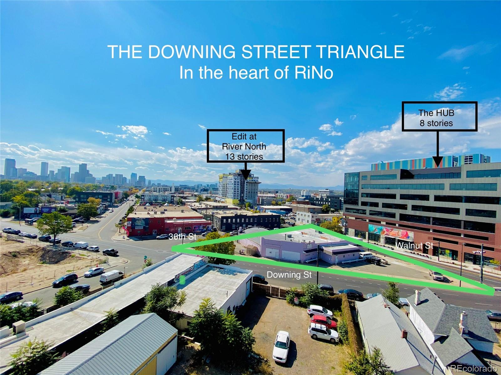 THE DOWNING STREET TRIANGLE - Prime Development Opportunity in the heart of RiNo on Downing, Walnut and 36th Street. 3703 - 3739 Downing is on three corners, zoned C-MX-8 with a 12 story overlay. Site is 18,327/SF with an existing 12,413/SF building.  This triangular piece of land resides in the Design Overlay Zone District Located in the 38th & Blake Station.  These have Height Amendments for enhanced design quality with higher-intensity development near the commuter rail station. Comps from across the street on the east side of the 3700 block of North Downing St are at $278.19 sq/ft with only an 8 story maximum incentive height sold on Sept 2020. (34,940 sq ft at $9.72M)