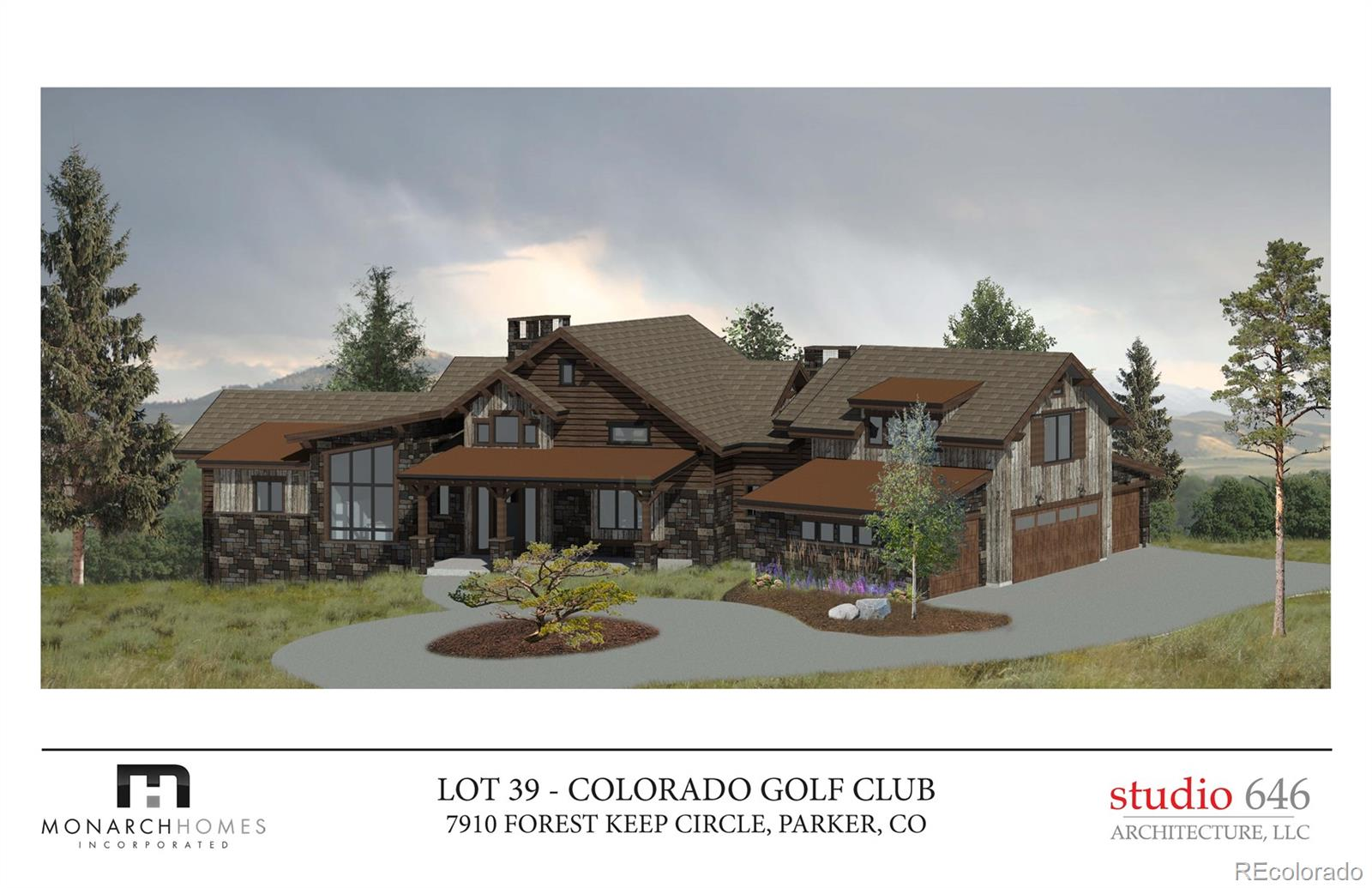 Located in the exclusive gated community at Colorado Golf Club, this brand-new custom home features a sophisticated architectural style characteristic of a modern farmhouse with a twist of rustic industrial flair. Skillfully crafted by the artisans of Monarch Homes, this stunning estate sits on nearly 2 acres of elevated rolling meadow blessed with towering Ponderosa pines and distant mountain views. The incredible open concept main level has rich hardwood floors throughout and features a soaring great room with a unique free-standing stone fireplace and huge windows showcasing the captivating views. The u-shaped kitchen wraps around a massive center island and opens to the great room, dining area, hearth room, and the adjoining covered deck, creating a stunning common area for family gatherings large and small. The main floor master retreat has a full-wall fireplace surrounded by custom built-ins, a private owner's deck, an enormous custom walk-in closet, and a first-class bath with every luxurious finish. A handsome study with built-ins, a powder bath, a light-filled laundry room, a convenient mudroom, and the oversized 4-car garage complete the main level. A rear stairway leads to the upper guest quarters, perfect for teens, nanny, or special houseguests. The dramatic main staircase descends around the central stone fireplace and opens to the full walk-out lower level featuring a grand rec room with billiards and gaming area, tavern-style bar and wine room, two additional bedroom suites, 2nd laundry room, powder room, and exercise room or 5th bedroom. Full professional landscaping is included in the list price!