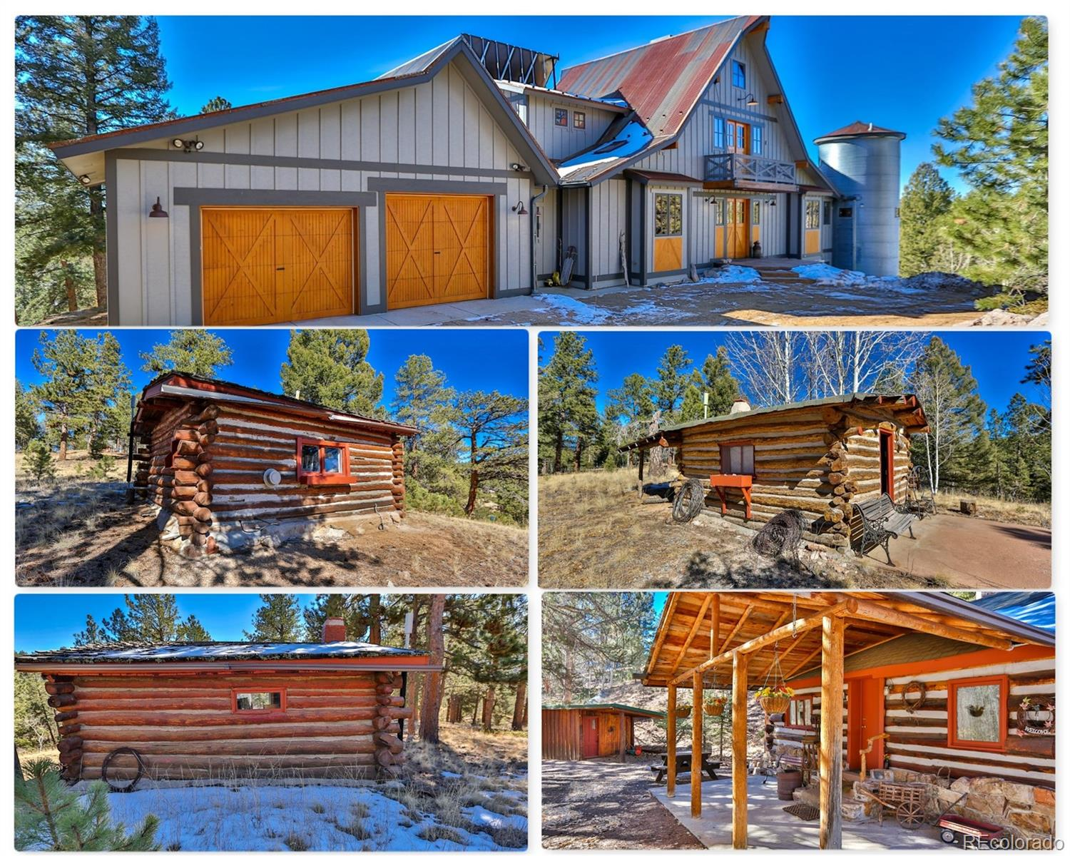 """***See the Amazing HD Video of this home at the Virtual Tour Link!!*** Incredible home in an amazing setting. This 2 story home with 4 historic cabins sits on 60 acres just outside of Divide. There are wonderful views as soon as you walk in the door. Soaring vaulted ceilings with a wall of glass to gaze out at the wonder of the Rock Mountains. The large great room features a gas fireplace with stacked stone clear to the ceiling, a gourmet kitchen with an exotic granite countertop bar and a dining area that walks out to the composite deck with a retractable awning. The kitchen features granite counters, knotty hickory cabinets, a large deep undermount sink, a prep sink, a countertop gas range, built in oven and microwave and built-in wine fridge. Living room windows have automatic light controlled insolated window blinds. Main level master has a private balcony with views, a walk-in closet, a five piece master bathroom. The master bath has a soaking tub and a extra large shower. Office is on the main level as well for the telecommuter. Upper level has a bedroom and a loft bedroom. Both have adjoining bathrooms. There is solar radiant in-floor heating through out the home. This home is very energy efficient. The tile throughout the main level absorbs and stores heat and the windows are high altitude low E, double paned and insulated. Corrugated metal roof is """"Hot roof design"""" for fire mitigation. See the attachments for all of the features of this home are listed in detail. There are four historic log cabins on this property that date back to 1875. The main cabin is 2 rooms and over 500 square feet. The other cabins are one room cabins. All have heat and come fully furnished. Great vacation rental opportunity. There's also a fenced in corral area as well as large storage shed. This is a one of a kind property."""