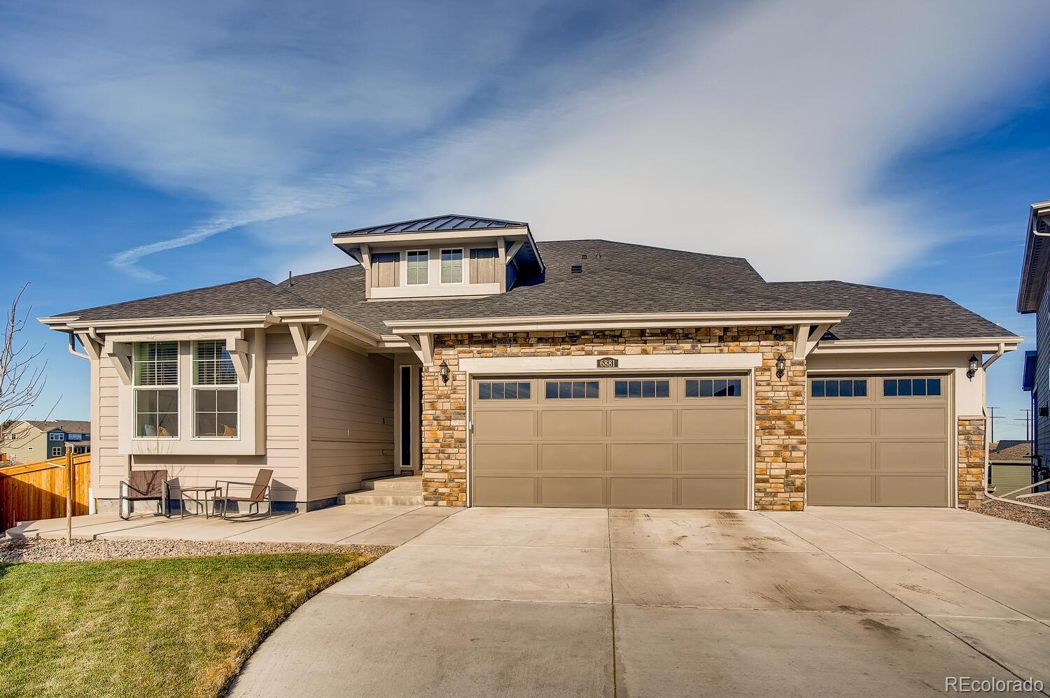 Why wait for new when this stunning home is available NOW?!  This gorgeous Graham ranch plan  is located on a cul-de-sac in highly sought after Castle Pines and features 3 beds, 2 baths, great room, kitchen, mud room, walkout basement and 3 car garage.  Meticulously maintained - pride of ownership shines throughout. Beautiful finishes and upgrades including Engineered hardwood floor (Greenbriar - Marrone), slab granite counters in the kitchen and master bath, window blinds, Ring video doorbell and more. Finish the walkout basement for even more living space. The many windows allow the natural light to cascade in keeping this home bright and cheerful.  The energy efficient furnace, central air conditioning and gas fireplace keep this home comfortable all year long. Perfect and move in ready.  The open floorplan is ideal for entertaining.  Enjoy warm summer evenings from the covered deck or people watch from the front patio. No monthly HOA fees - included in property taxes.  Close to dining, shopping, entertainment and other amenities.   Easy access to Castle Pines Parkway and I-25. Don't miss your opportunity. Welcome Home!