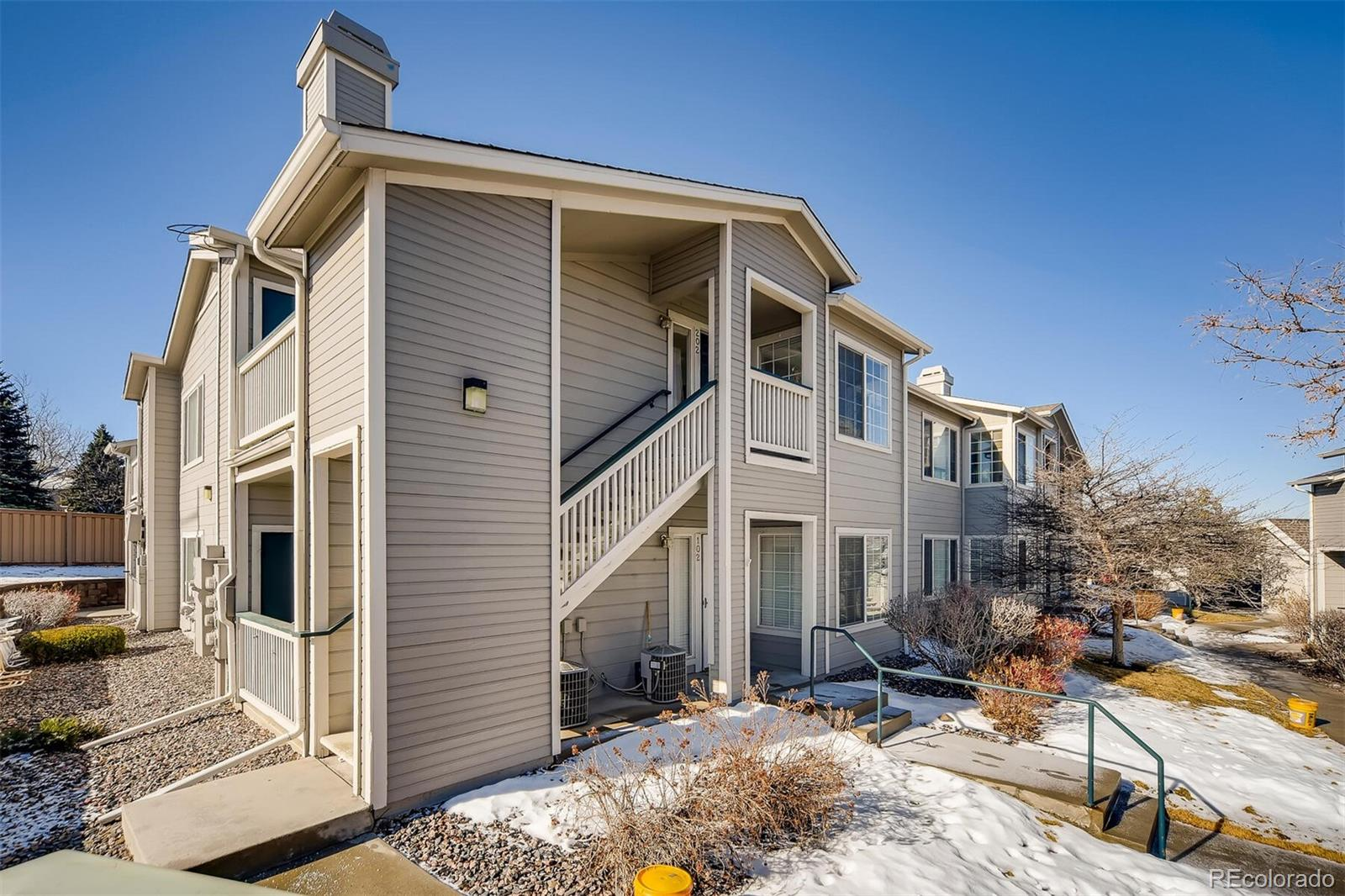 LOCATION, LOCATION, LOCATION! Amazing 2 bed, 2 bath condo in the heart of Highlands Ranch. Dine-in kitchen with plenty of natural light from the large windows. Enjoy the vaulted ceilings and open living room with sliding doors to your personal covered balcony.  Private master retreat with a large walk-in closet. Second bedroom is spacious with double closets. Amazing amount of storage in the unit. Laundry in hall closet. Walking distance to shopping, restaurants, parks, bike trails and easy access to C-470. Enjoy the great amenities in Canyon Ranch-lots of parking, pool, hot tub, clubhouse and fitness area. Hurry this won't last long.