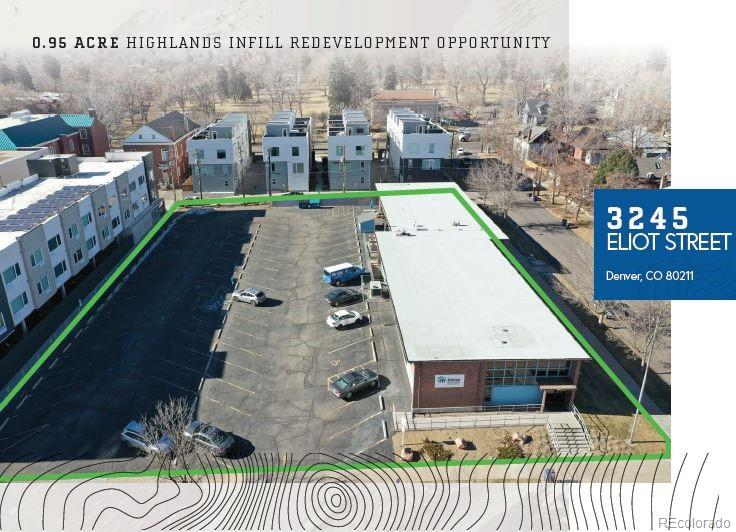 CBRE is pleased to offer the opportunity to buy this sizable 0.95 Acre Infill Redevelopment Site situated steps from the heart of Denver's very popular Highlands neighborhood. 3245 Eliot Street is across the street from Highlands Park and is zoned U-MX-3 making it ideal for a Multifamily redevelopment. The property is a large corner lot on W 33rd Avenue and Eliot Street half-a-block off Federal Blvd, which sees around 37,000 VPD and has great accessibility to I-25 and Downtown Denver.  One block east on W 32nd Avenue are wonderful retail amenities for any time of day including Park Burger, La Grande Mexicana, and Wooden Spoon Café and Bakery. Highlands Park includes amenities such as a city library, playground, and sports courts. The Highlands neighborhood is truly special in the sense that it blends the best of Denver retail with residential living right on the edge of Downtown Denver's CBD.  There are many opportunities for this site with favorable U-MX-3 zoning allowing for most commercial uses including multifamily, hospitality, office, etc. Built in 1955, the property has been well maintained by the current owner, executing capital improvements as needed. The property condition offers flexibility for an Owner/User to immediately occupy as well.  The Seller would prefer to have a component of Affordable Housing incorporated into the site and will consider that favorably with any offer.
