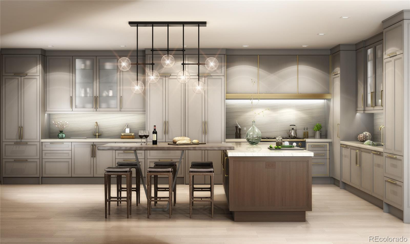 """Welcome to a rare penthouse offering in Cherry Creek! This is One Polo Creek Building's newest and most elegant unit which has been completely renovated and transformed using the finest and intricate attention to detail possible. The floors and custom closets are in and the tile work and cabinets are being set right now! Bring your decorator to finish personalizing this space just for you as we are getting close to the finish line. Indulge in the luxuries of a 5-star hotel without leaving home. This stunning Cherry Creek penthouse which has expansive views of the Rocky Mountains, city skyline, and Denver Country Club golf course. As you walk in you are immediately impressed with elegance of the herringbone marble floors and a see- through fireplace that leads you into living room and kitchen. The kitchen comes complete with new designer appliances: the Range is from La Cornue at 43"""" wide, matt black with stainless and polished brass accents, two large sinks, under cabinet lighting, a spacious island that seats six, and a sizable butler's pantry. White quartz countertops complement the sleek gray cabinets and modern brass finishing's. A luxurious bath, steam shower, and more marble floors make it even more of a haven. The quiet and private guest room is equipped with a full en-suite bath. The impressive office, with its own private entrance, is ready for you to run your business while overlooking the main room where you can still enjoy the beautiful views. Four deeded parking spots and a storage unit located in the underground garage. Call for your private tour today! Building amenities include an elegant grand lobby, valet and full concierge services, 24-hour security and doormen, guest suites, a fully equipped fitness center, on-site car washing, visitor parking, and more. Beyond the views, it's the perfect location, just steps away from the Cherry Creek Mall, upscale shopping district, art galleries, fine dining, and Creekside bike path."""