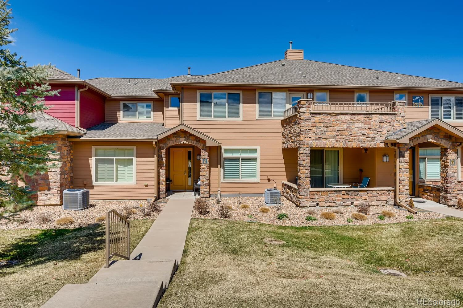 "Highly sought-after ""C"" unit along the quiet perimeter of Palomino Park. With north and south facing decks you have spots to enjoy every bit of Colorado's beautiful weather and views. This updated condo offers nearly 2 of everything - 2 bedrooms, 2 bathrooms, 2 living spaces, 2 decks, and 2 parking spaces in the finished, oversized garage. Natural light flows freely across the unit thanks to abundant windows and vaulted ceilings. Updates in this unit include: engineered hardwood floor throughout the main level, upgraded cabinetry w/ under- and over-cabinet lighting, updated backsplash and fireplace tile work, new and upgraded 3-panel window w/ extra-wide slider, Silhouette window coverings, updated lighting, new appliances, new water heater, water softener, gas line in kitchen, gas line to patio, neutral paint throughout. Enjoy resort-style living in this gated community. Amenities include: the Colorado Club, outdoor swimming pool w/cabanas; health club; racquetball, basketball, tennis, and volleyball courts;  soccer and baseball fields; frisbee golf course; putting green and driving-range room; walking paths and a dog park. There is also a private Cabana and hot tub area for Gold Peak Village residents just a short walk away. Visit www.palominopark.com for amenity photographs and more information."