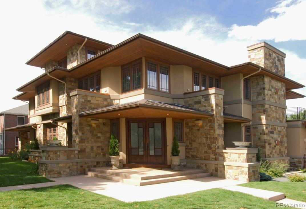 Single family custom home on the highest 12,500 ft. lot in Cherry Creek North.  Frank Lloyd Wright inspired and built in a U-shape around a private courtyard perfect for al fresco dining, entertaining, exercising or relaxing with a heated pool. There is a sense of arrival upon opening the front door and stepping into the foyer showcasing an architectural spiral staircase visually partitioning the north and south wings. The main floor of the north wing features a chef's kitchen with a spacious eating area opening to a great room with a cozy fireplace. There is a 3/4 bath for ease of showering after a dip in the heated pool, a mud-room with built-ins for convenient storage and a main floor laundry.   The south wing on the main floor features a large flexible dining space adjacent to an entertainment area complete with a wet bar. Rounding out the south wing is a living room with a fireplace with access to two outdoor spaces and a home office with its own private patio.