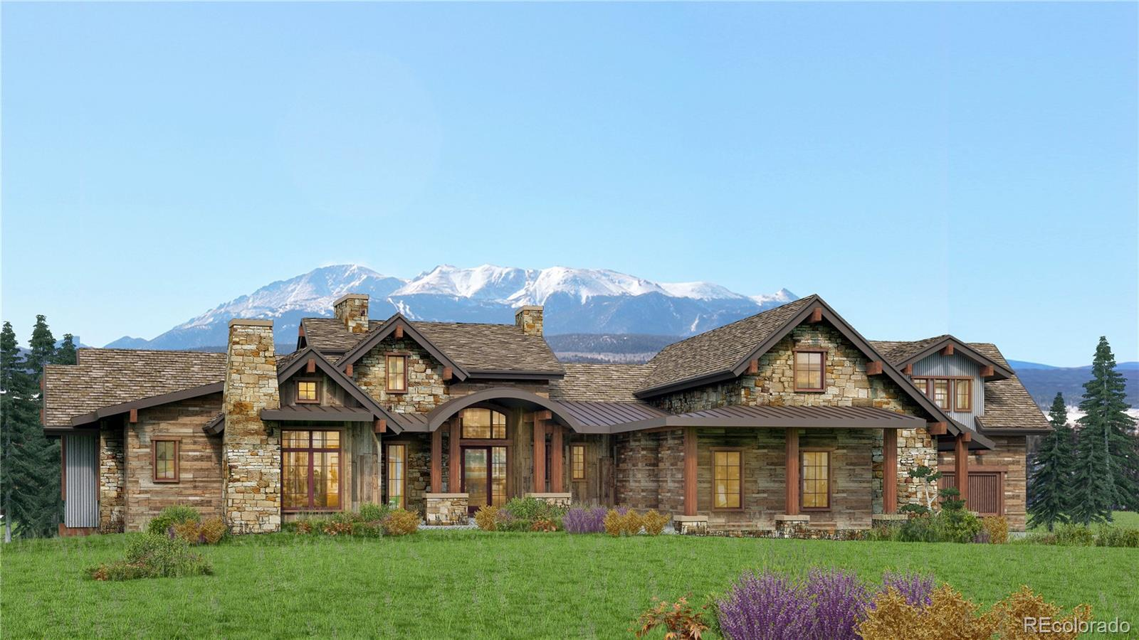 """Truly a """"Colorado Mountain Ranch"""" to-be-built by Sterling Custom Homes with panoramic mountain views, set on 56 sprawling acres in the luxurious gated, estate community of Bears Den. The estimated completion of this custom home is the second half of 2022. Sterling Homes is known for their """"built-in"""" WOW impact, blending your home perfectly with the surrounding landscape to maximize views and native topography. The home combines classic earthy materials such as thick stacked stone, wood flooring & large ceiling  beams. Countless, expansive windows will frame the 360 degree views, ranging from the Town of Castle Rock, north to the Denver skyline, with a backdrop of the Pike National Forest. This walk-out ranch style home will feature  open-living rooms with spacious gathering areas flowing from the inside out, a large kitchen and ample dining spaces, a main floor master suite and an upper level guest suite. The master craftsmanship embraces comfortable, livable elegance.  The ranch sized lot is large enough for custom outbuildings of the owner's choice--be it a horse barn, car barn, riding arena, sports court, etc. (not included in said estimated list price).  This one-of-a-kind WOW property is rarely seen """"close in""""--56 Acres, gated estate community, peace & quite & fabulous views.  So many possibilities for the discretionary buyer.     LOT CANNOT BE SUBDIVIDED"""