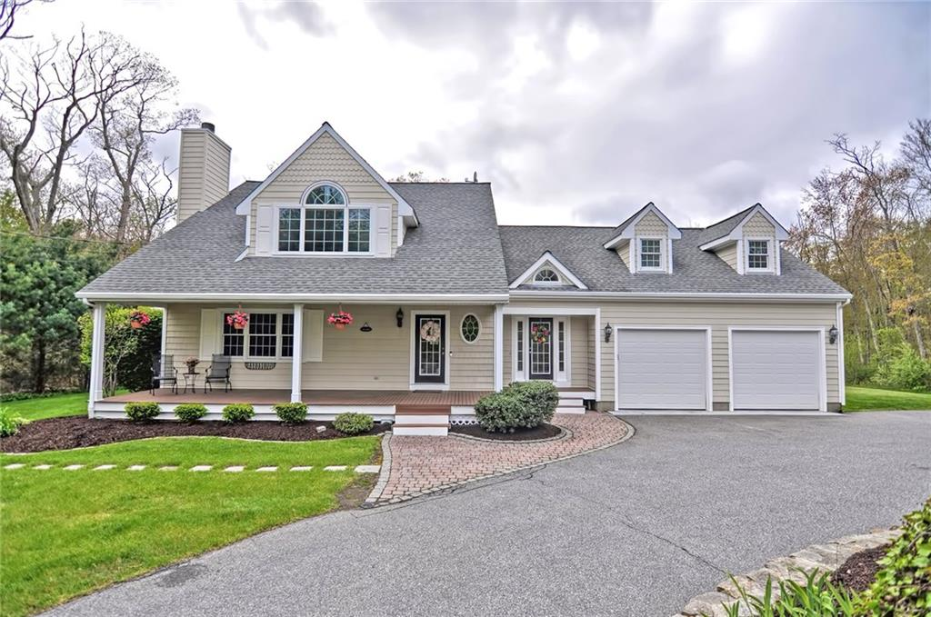 5/26 OPEN HOUSE CANCELED- OFFER ACCEPTED This custom Contemporary Cape is as close to perfect as you can get! Enjoy the privacy of your front porch as you're nestled back off the street on a 3.68 parcel in a desirable neighborhood! New 2019 kitchen with subway back splash, stainless appliances and an L-shaped island with seating. Gorgeous natural light throughout! Home office, sunken family room with skylights and gas stove, formal dining with fireplace, laundry room, mudroom and lavette. Master suite with vaulted ceilings, walk in closet and new bath featuring soaking tub and custom tile shower! You'll love the jaw dropping heated garage with tall ceilings, Epoxy floors and car lift Large kids beds with adjoining Jack and Jill bath. All baths remodeled recently, freshly painted interior, finished basement with home gym/play room,A/C,irrigation,pool,extensive patio and storage shed. An absolute must see!