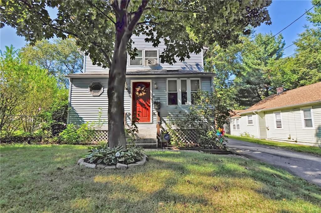 MOTIVATED SELLER! This charming colonial offers an updated kitchen and open floor plan in a convenient location. The kitchen has been updated with white cabinets and stainless steel counter tops and leads into a formal dining space, a large family room with additional den/office space, mudroom and laundry. First floor features hardwood floors, skylights and a large bathroom with an updated vanity and tiled bath with whirlpool jacuzzi tub. The two oversized bedrooms feel even larger with cathedral ceilings. Additional updates include energy efficient shower head and nest thermostat. The outside space is quiet and complete with a new large deck, fence and patio area.