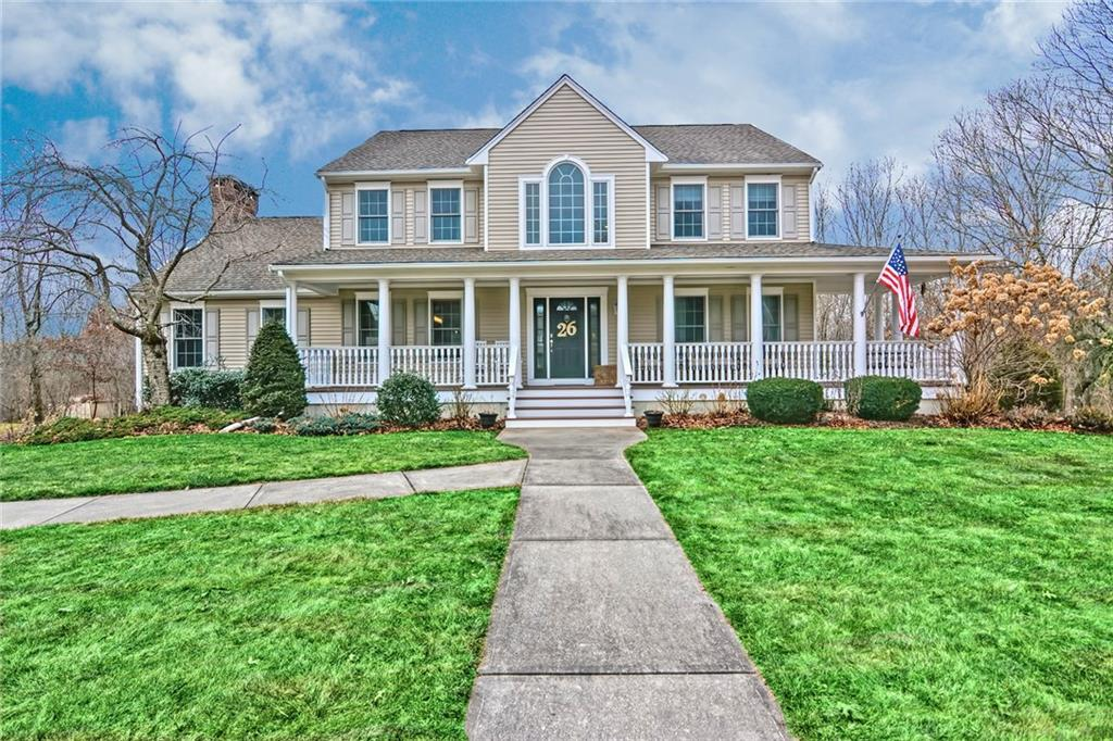 This stunning Colonial with magnificent wrap around porch is perfectly positioned on its 3+ acre parcel on a quiet cul de sac in Northwoods. An incredible floor plan for entertaining and everyday living; open with a nice circular flow and an abundance of natural light. The great room has soaring vaulted ceilings, skylights, gleaming hardwoods and a dramatic floor-to-ceiling stone fireplace and Vermont Casting wood stove.Custom Chef's kitchen boasts a walk in pantry, professional grade appliances, large island with seating, pendant lights, under cabinet lighting and granite counters. Enjoy your private and well-manicured fenced yard from the 15x12 sunroom. Tall 9' ceilings, home office and laundry on first! Beautiful master with cathedral ceilings, private bath with double vanities and make-up desk,granite counters and custom walk in. Finished walk out lower level with game room and bath! Spacious bedrooms, new carpeting, freshly painted interior, lawn irrigation and heated garage!