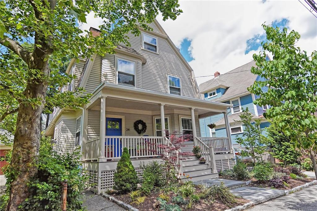 "Welcome to 24 Rhode Island Ave, located steps from Wayland Square's dining & shopping in the tree-lined section of Patterson Park.This Circa 1910 Three Story Colonial was completely renovated in 2016 embracing the charm & period detail of yesteryear while including the modern amenities of today.Greet your guests in the large entry foyer w/ its welcoming gas fireplace&oversize closet.This exquisite home features, a master chef's kitchen complete with 30"" cooktop, double oven, expansive cabinetry, glass mosaic backsplash & quartz counters.The front to back double parlor features 9.5' ceilings, 2 gas fireplaces, over sized windows & sliders that lead to a new 12x24 cedar deck w/beautifully constructed roof, natural gas fire table, cobblestone patio, garden area & fenced in yard. An incredible private master ensuite awaits you on the 2nd floor along w/ a luxurious master bath w/ soaking tub, oversize glass enclosed rain shower & radiant floor heat. The suite is complete with a 6x9 walk in dressing room. There are two additional bedrooms; one w/its own fireplace, & a brand new family bath w/washer & dryer. The 3rd floor features a 32' front to back open space & 1/2 bath great for a studio,guest suite,or office.The lower level is partially finished with heat & AC, great for a rec area or gym, & plenty of storage space. All offers due by 5 p.m. 6/8/2020."