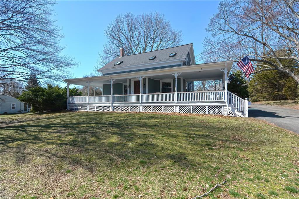 Welcome home to this charming 1860s farmhouse set on just over an acre of land. The main living area offers high ceilings, built ins, crown molding, hardwood floors and an open concept kitchen and dining area. Off the kitchen you will find a laundry /mud room that leads to the backyard and basement. The second floor features a nice sitting area that would make a great playroom, office, or home school area. Skylights in all three bedrooms fill the rooms with natural light. The beautiful fenced in lot has a large patio area, swing set and extra large storage shed. The Barn features electric and a full second floor loft. This could be a great space to convert into a home office with plenty of storage space below!