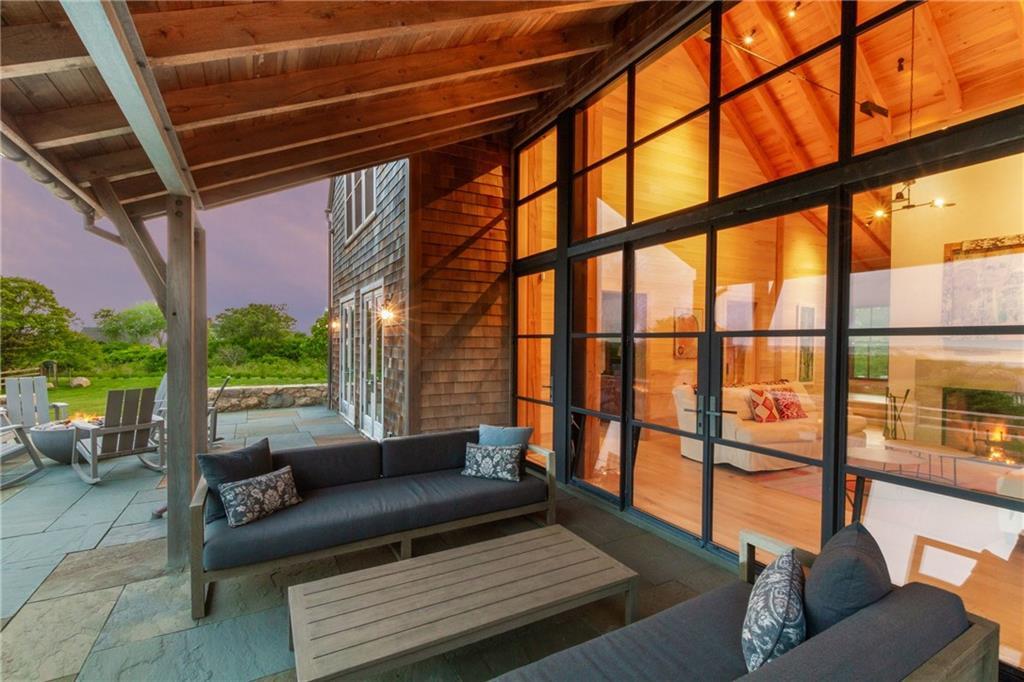 Living Room - Main House - Post & Beam Hemlock Timbers - Pine Whitewashed Paneling  - Custom Lighting