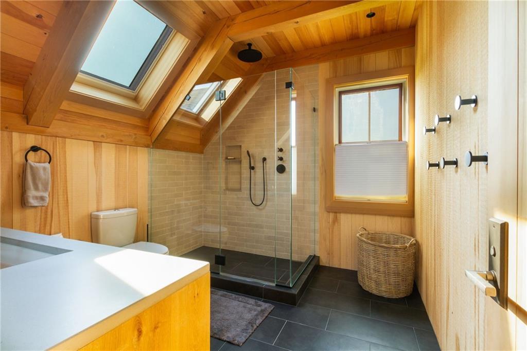Guest House Living Room - Fir Floors - Mahogany Little Harbor Windows