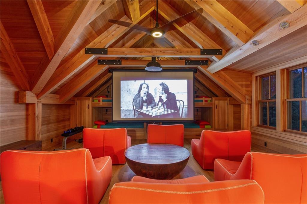 Barn/Garage - Red Cedar Roof & Siding - Marvin Mahogany Wood Windows and Copper Screens- Outdoor Cedar & Ipe Wood Shower
