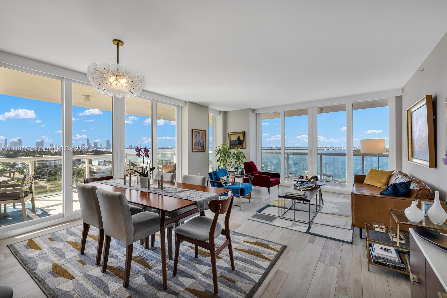 Rarely available 01 line ( considered to be the best line) corner 2 bed / 2 bath unit.  1,477 sq. ft.  plus and additional 665 sq. ft. of wrap around terrace.  Stunning views of Biscayne Bay and the Miami skyline.  Architectural Digest quality renovation with state of the art brand new kitchen,  and new impact windows compliment this unit.   Brand new resort style pool and fitness center including tennis court.