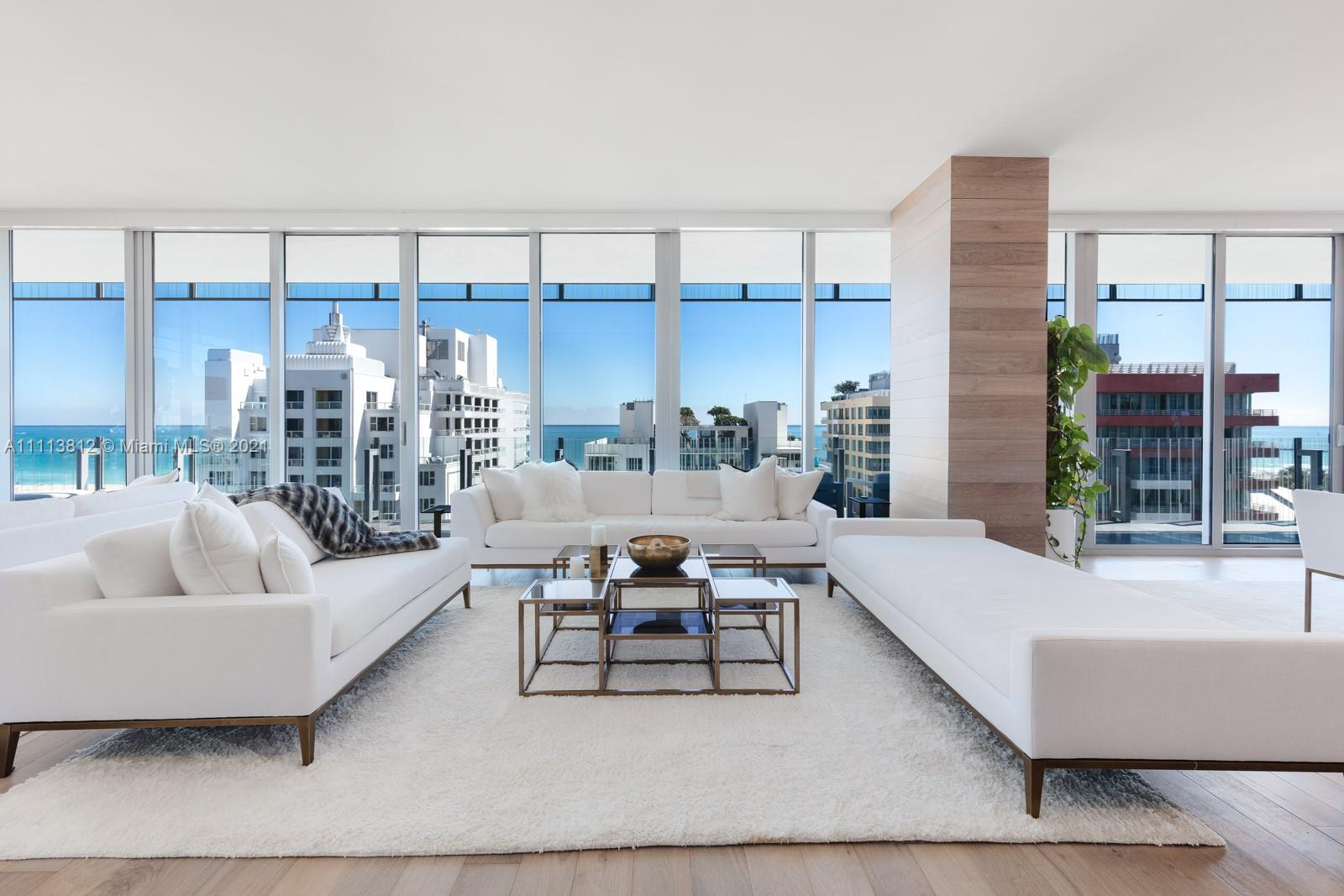 Spanning the entire 9th floor, this expansive residence is the perfect place to call home. Located on the famous Ocean Drive in the heart of the South of Fifth neighborhood boasting 360 degree views through floor to ceiling glass windows, 10 FT ceilings, a Calcutta marble kitchen with Gaggenau appliances and wood flooring throughout. Designed by Architect Rene Gonzalez, engaging our senses with inspiration from the surrounding landscape, designed with an all glass exterior to combine interiors with exterior spaces. Residents of GLASS are offered beach service, a beautiful pool area with Jacuzzi, boutique gym and a full time estate manager.