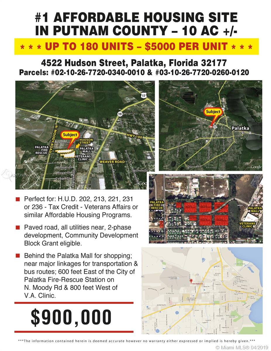 4522 HUDSON ST=PALATKA=FL, Other City - In The State Of Florida, FL 32177