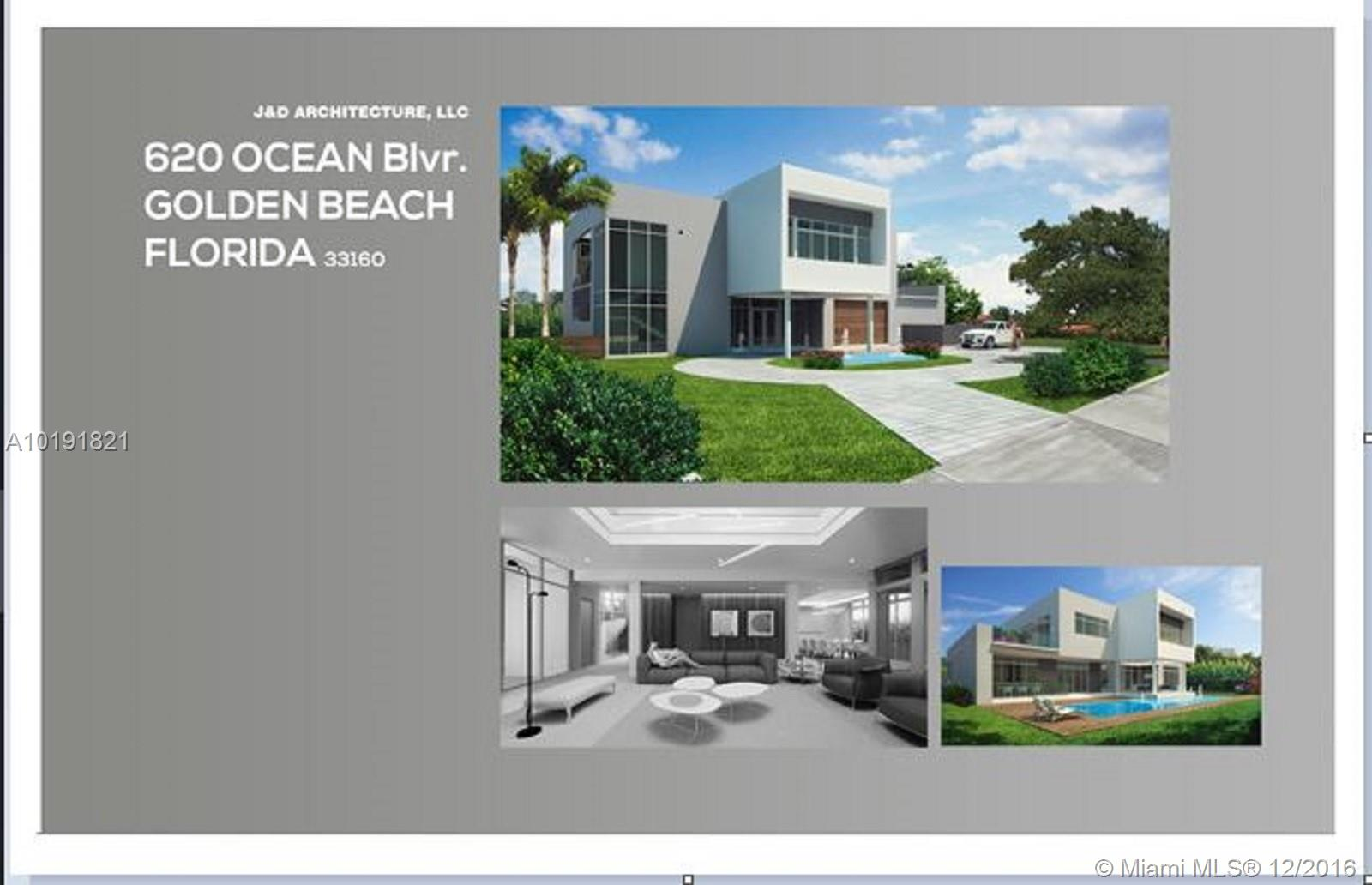 "Stunning Modern ""Over the Top"". New Construction. Designer finishes with the latest modern appliances and exquisite finishes. Large lot across from Golden Beach's oceanfront mansions. Expected completion 2018."
