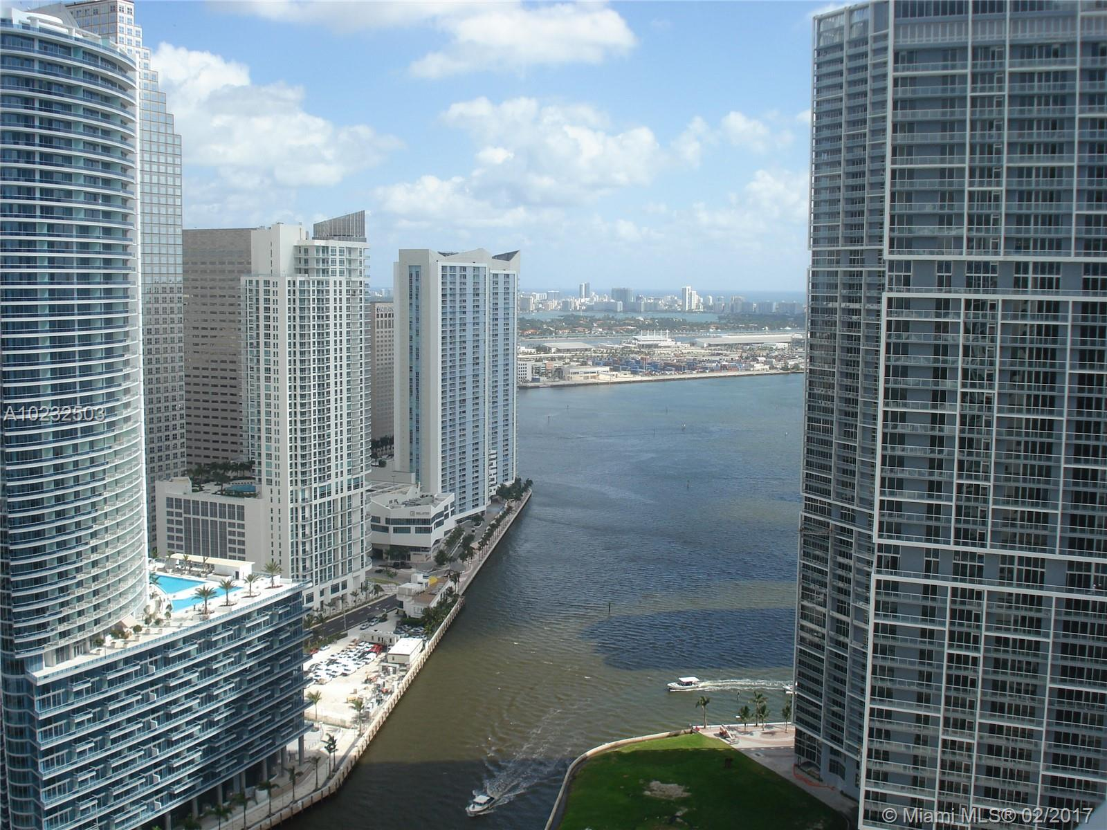 Great middle PH with high ceilings , split plan, nice view of Miami River and downtown skylight. New laminated wood floors!  Centrally located within walking distance to people mover station, Brickell financial center, restaurants and the new Brickell Centre 500 Brickell Condominium has all amenities, two pools, gym, party room, etc. 24 hours lobby attendant and valet parking. Unit is leased till 6/30/21 $2,750.00 monthly rent.