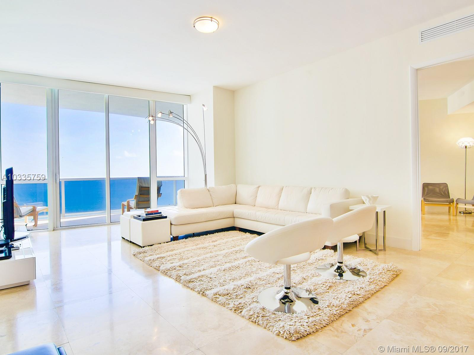 Beautifully designed and finished unit with direct Ocean views from every room. Being offered turn-key for a buyer who appreciates a carefully furnished unit and the convenience of moving in quickly and stress free. With warm and modern design, this spacious 2 suites residence is ideal for entertaining while enjoying breathtaking views of the ocean. Full service five star building with gym and spa services as well as beach club and restaurant service. It is a true Sunrise Mansion in the sky!