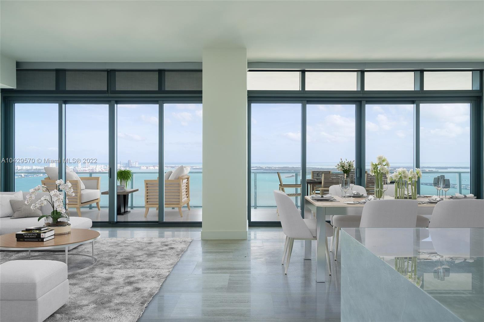 Situated on the desirable 02 line of Echo, Brickell's newest standard of sophisticated living, this pristine residence will captivate you with its unobstructed, sweeping water and skyline views and oversized terrace with summer kitchen. Top-of-the-line SubZero and Wolf appliances and modern finishes such as Calacatta Luxor marble floors throughout, 12' ceilings, Apple iHome smart home technology. A generous split floor plan provides plenty of natural light, each bedroom has balcony access and water views, bathrooms are outfitted with Dornbracht and Grohe fixtures. With no luxury compromised, Echo residents can enjoy amenities including a vanishing-edge pool deck, resort-style poolside service and a state-of-the-art fitness facility and spa, 24-hr concierge.