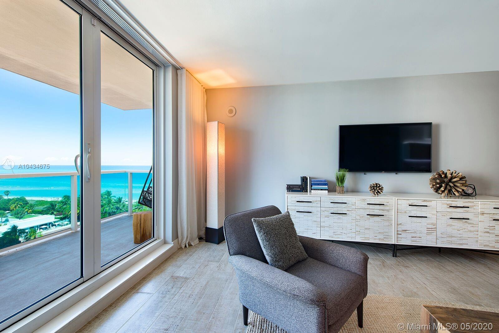 Beautifully finished and furnished, 970 square feet 1 bed/1.5 bath at the new 1 Hotel + Homes. Highly desirable 13 line w/wide open ocean views. Great amenities including 4 pools, valet, private owner's lobby separate from hotel entrance and the best restaurants in South Beach.