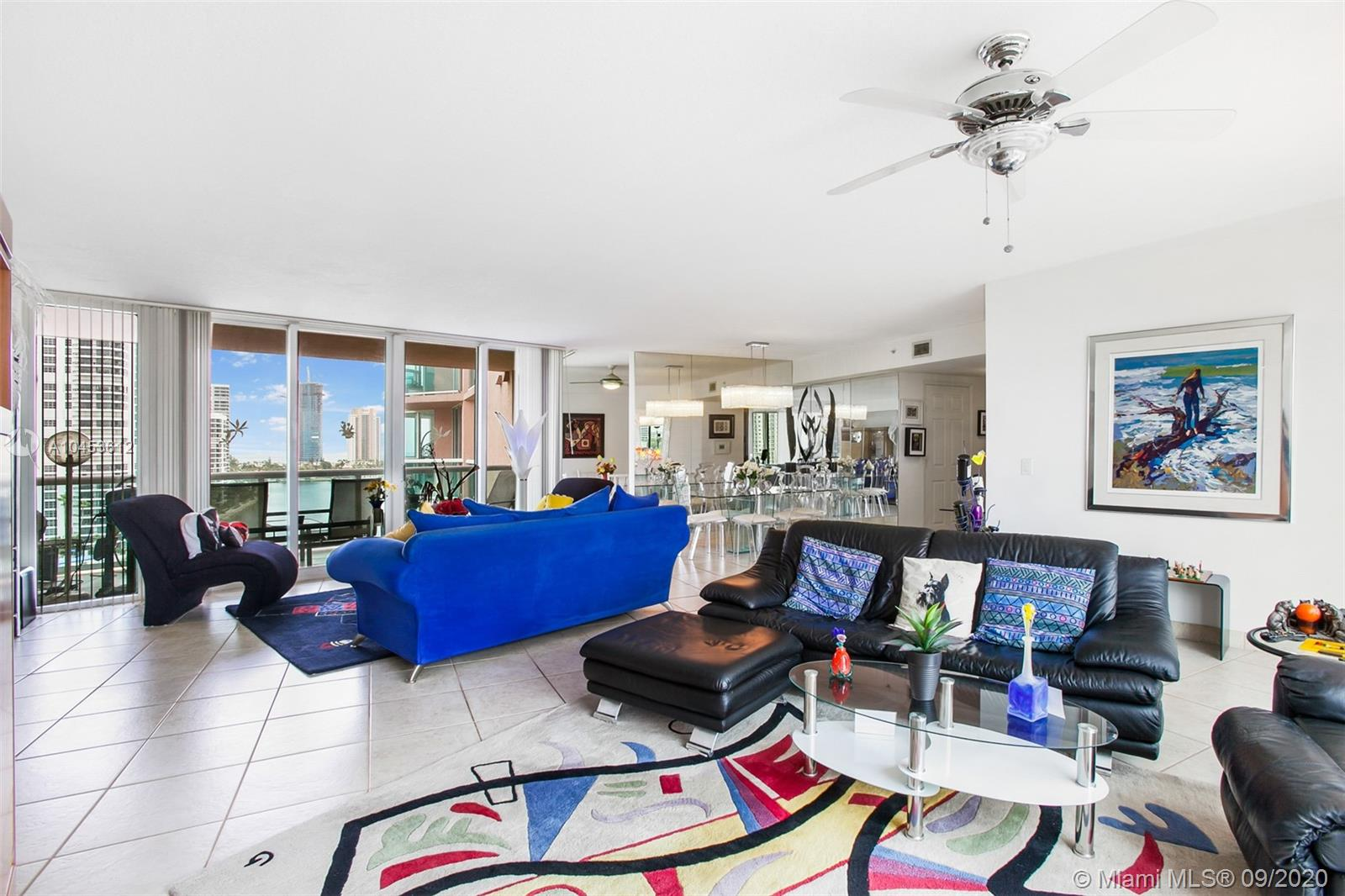 WOW! AN 1,870 SQFT MASTERPIECE! ENTER FROM SEMI PRIVATE ELEVATOR FOYER & IMMEDIATELY AND THRU OUT SEE THE BEST VIEWS IN TOWN, 360 DEGREE OF OCEAN, BAY, CITY, GOLF COURSE, MARINA. FABULOUS FLOOR PLAN WITH FLOOR TO CEILING GLASS ON TWO SIDES - SUNRISE + SUNSET. SPLIT PLAN OFFERS PRIVACY. 2 EN SUITES + POWDER ROOM, SPACIOUS - HUGE GREAT ROOM EASILY CONVERTS TO THIRD BEDROOM. IMPACT WINDOWS. FALL IN LOVE WITH THIS ONE! IN THE HEART OF AVENTURA, NEXT TO FOUNDERS PARK FOR THE KIDS, WALK TO AVENTURA MALL, GROCERIES, RESTAURANTS, SOFFER EXERCISE TRAIL AROUND RENOWNED TURNBERRY ISLE GOLF COURSE. GREAT RESIDENCE IN GREAT LOCATION. MAKE AN OFFER.