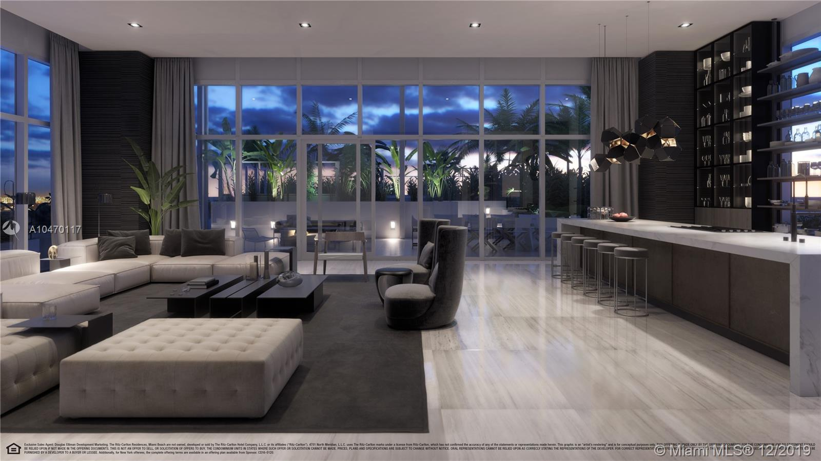 One of the five exclusive penthouses that crown the top floor of The Ritz-Carlton Residences, Miami Beach. This residence overlooks Miami Beach, Biscayne Bay, and Downtown Miami. Among its most defining characteristics are over 10,000 square feet of living space including a private elevator and foyer, stone and wood flooring throughout, and floor-to-ceiling windows. An expansive terrace with over 4,000 square feet features a private pool, two plunge pools, outdoor kitchen. Schedule a private appointment and visit the first Model Residence Designed by Piero Lissoni today.