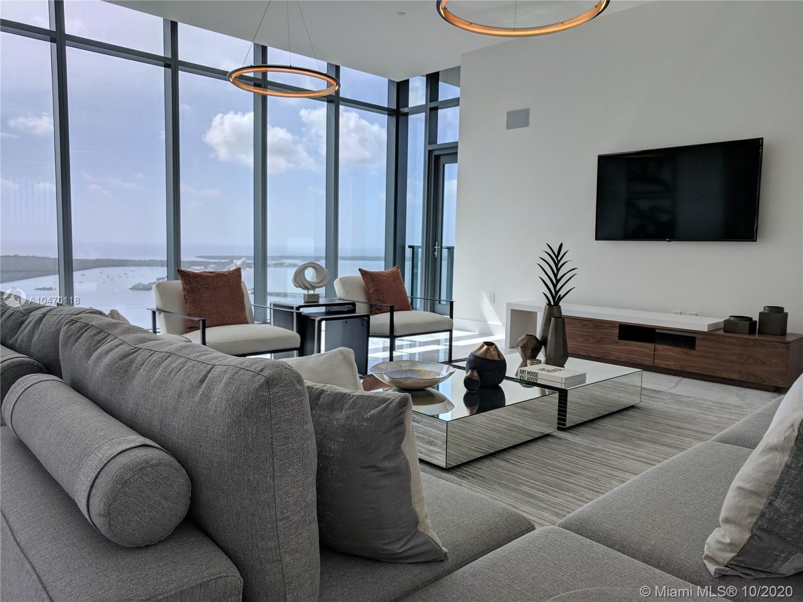"Stunning Lower Penthouse residence with incredible unobstructed views of Biscayne Bay, Miami skyline, and the Ocean - East, West, North & South exposure.  Featuring a spectacular Master Suite, with built-in Italian closets & extra tall floor to ceiling windows.  Marble flooring throughout, 7-foot Italian entry doors, and Poliform kitchen cabinets.  Echo Brickell is a state of the art ""Smart"" building, designed by Carlos Ott + Yoo, 4000 sq ft fitness center, Infinity edge pools. Enjoy complimentary daily breakfast poolside & in-house chauffeur services.  Best Penthouse opportunity in all of Downtown Miami."