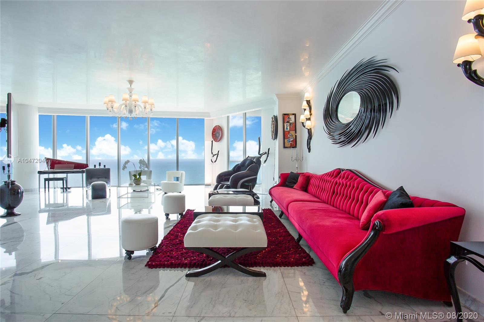 Spectacular Turn Key SKY VILLA! Ultra Modern/Fully Furnished unit! Panoramic Direct SE Ocean Views & Miami Sky Line. 11 Feet ceilings, 5 Bedroom+ office+ media-family room+ Maid quarter/ Laundry!  Master Suite with His and Hers Bathroom, Steam, Jacuzzi, Mirror/TV. Smart Home, Security Camera, Brand new Bosche AC, Top of the line Kitchen. 2 parking spaces. 5 Star Resort Amenities: State of the Art Fitness Center & SPA, Social Room, Tennis Court, Beach & Pool Service, Restaurant, Security, Valet.