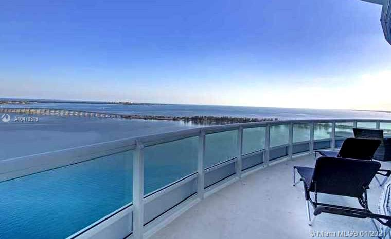 1643 Brickell Ave unit 3101, Owner Has lower the price. Bring an offer. A true Castle in the sky. What a sophisticated flow-thru Mansion with 4 Bedrooms & 5 Bathrooms. This sensational Two-Story Residence with Soaring 20 FT Ceilings with Floor-to-ceiling glass in the Living room. It offers 5,730 SF., this Masterpiece features expansive terraces with Panoramic Views of the Ocean, Bay view & a mesmerizing Skyline of the Magic City. Italian Snaidero Kitchen Cabinets, Subzero. Shutter throughout unit. The residence offers 3 en suite Bedrooms including a substantial master suite comprised of a den/office area,a large Bedroom with custom closets,an oversized dressing area. Please call for private showing. This unit is lease at this time.  This unit has two parking spaces and storage.