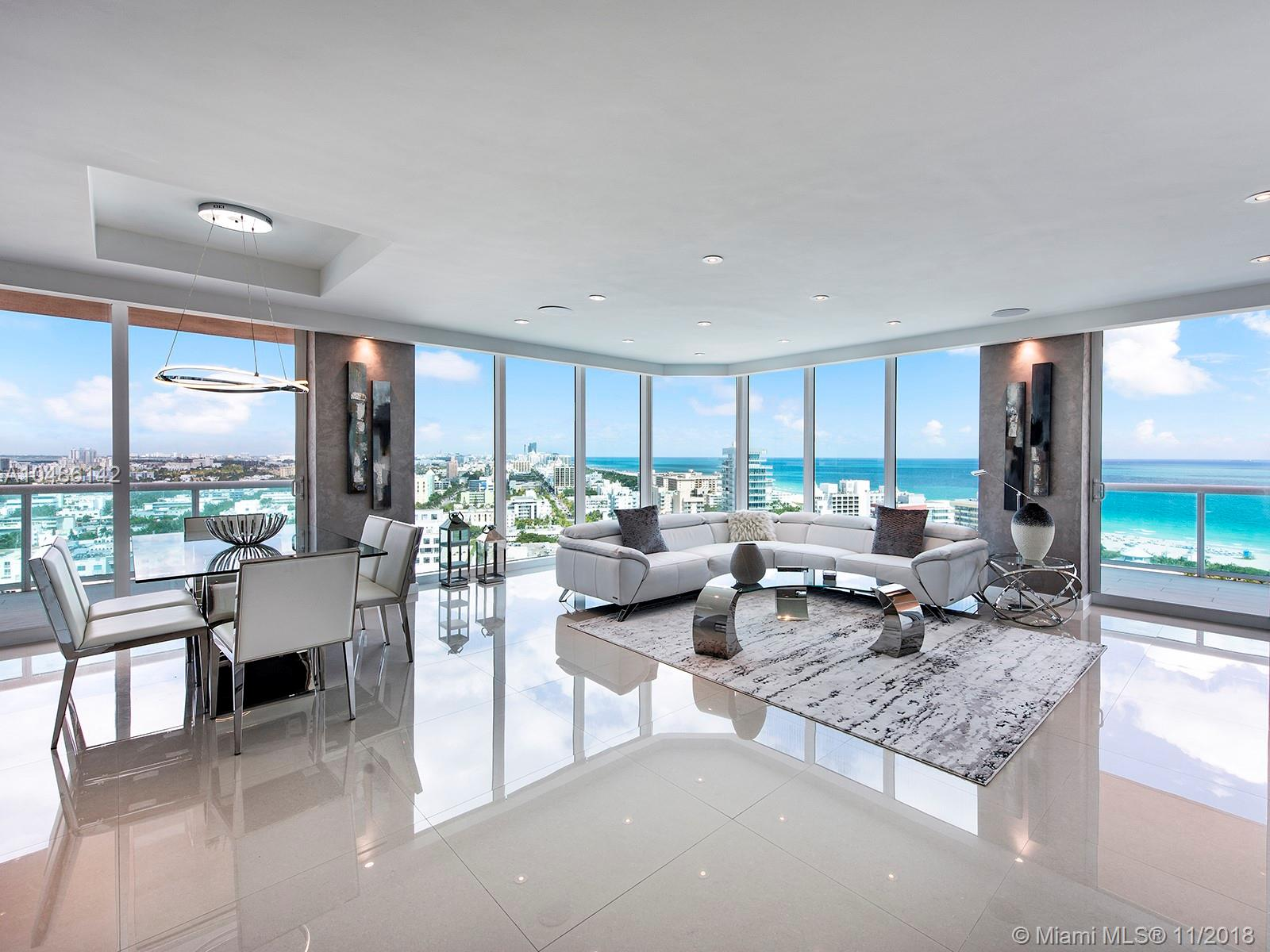 Stunning 3 bedroom in Portofino Tower South of 5th. Spectacular views of the Ocean, South Beach, Government Cut and the Miami Skyline. Be the first to enjoy the beautiful brand new renovations featuring an eat-in kitchen with floor to ceiling windows, fabulous master suite with an gorgeous master bath, lots of closet space, custom lighting, sound system, electric blinds and two large terraces, laundry room. There's a fantastic gym and full service spa on the 29th floor, concierge service, valet, 2 pools, 2 tennis courts and onsite management. Enjoy the South of 5th lifestyle with the ocean, marina, park and the best of restaurants all in your back yard.