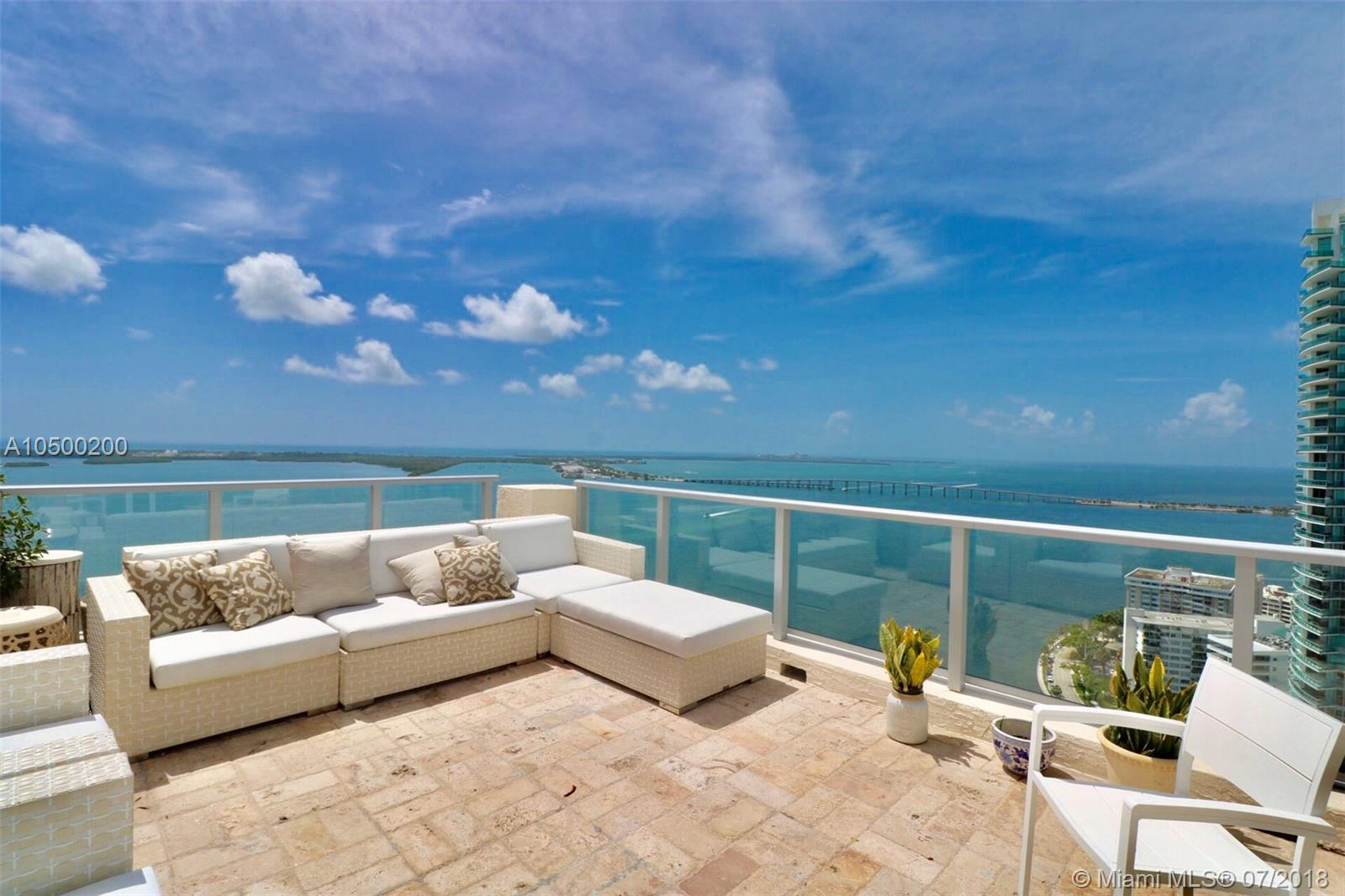 Spectacular open terrace penthouse opportunity with amazing Bay Views in a spacious 3 bedroom, 2 1/2 bath at the Mark. Master bedroom has a great sitting area.  Featuring marble floors throughout, Italian kitchen cabinetry. Automated window treatment.  Simply best location walking distance to shops, restaurants, metro and Brickell City Centre.  This building was just completely renovated with amenities such as gym, spa, pools. Come enjoy this very rare terrace with bay and city views.