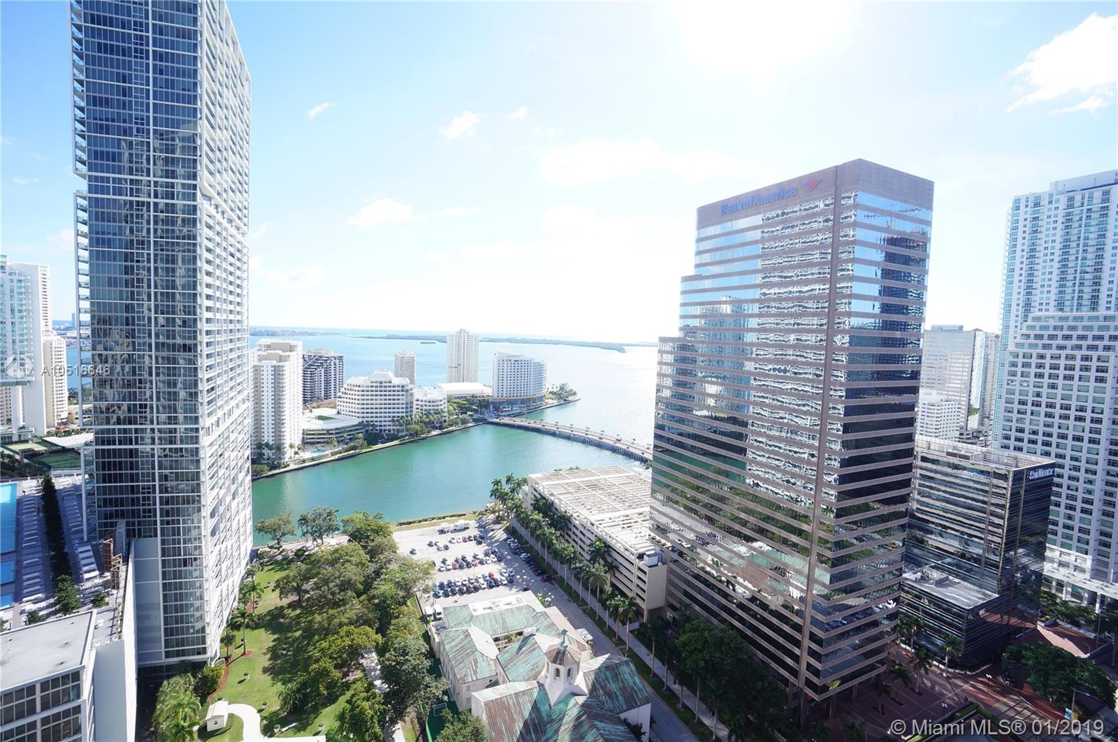 Amazing water and city view. view 1BR/1BA+Den in exclusive 500 Brickell (east tower). Generous & bright unit in the heart of Brickell Ave. European open style kitchen with snack bar & top of the line stainless steel appliances. Master suites with spacious bathroom w/ separate Jacuzzi tub & tempered glass shower. Enjoy the unique amenities: 3 spectacular pools including a lab pool and 42nd floor with panoramic view pool. State of the art fitness center, wine cellar room, sport bar room, his/hers hot jacuzzi, unique theater, walking distance of Brickell City Centre, Mary Brickell Village, the financial district, restaurants & entertainment. Quick access to main roads and expressways. Basic cable & internet included.