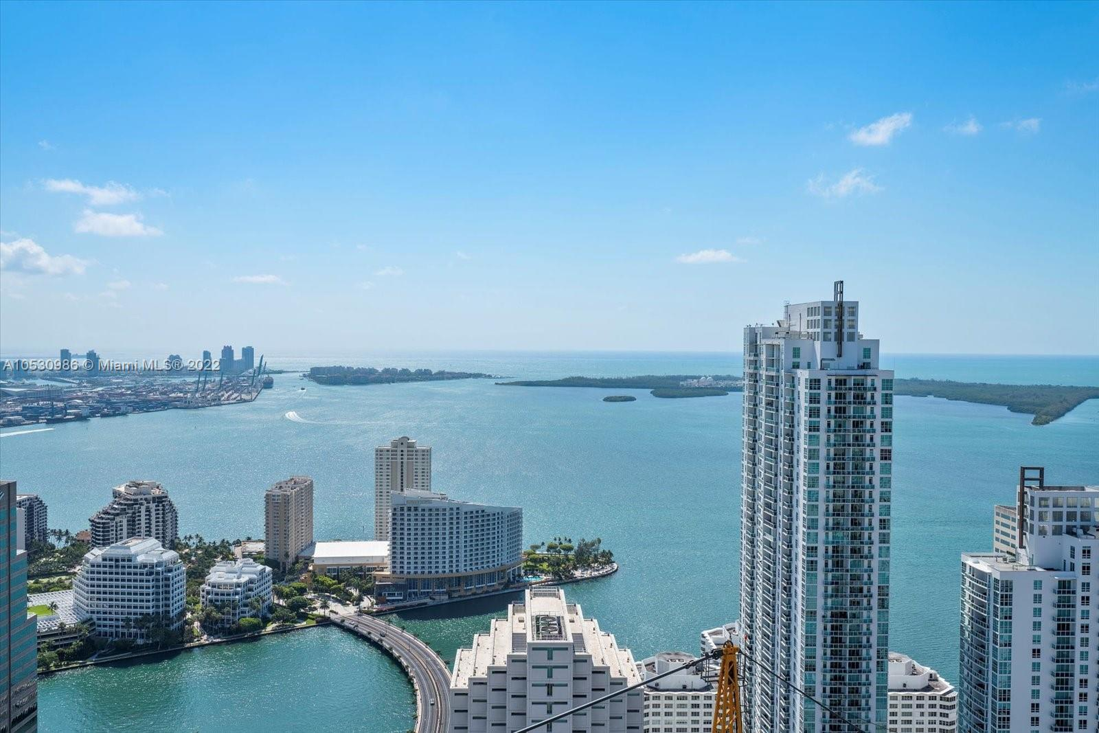 This unit 5505 high floor direct bay view enjoying the sunrise across Biscayne Bay, and at night Miami / Brickell shining through colorful bright lights, is very impressive! Corner residence, wrap around balcony, floor to ceiling glass windows, PRIVATE ELEVATOR, Lounge pool deck with Cabanas, poolside snack/beverage service, Tennis court, Wine & Cigar room, Billiard room, Basketball court, Private Rooftop Sky Pool for residents only, 24/7 concierge service, Complimentary 24 hours Valet parking. Located in front of Brickell City Centre. Celebrity chef KATSUYA RESTAURANT, S Bar & Hotel on premises. RESIDENTS RECEIVE COMPLIMENTARY BEACH CHAIRS AT DELANO HOTEL.
