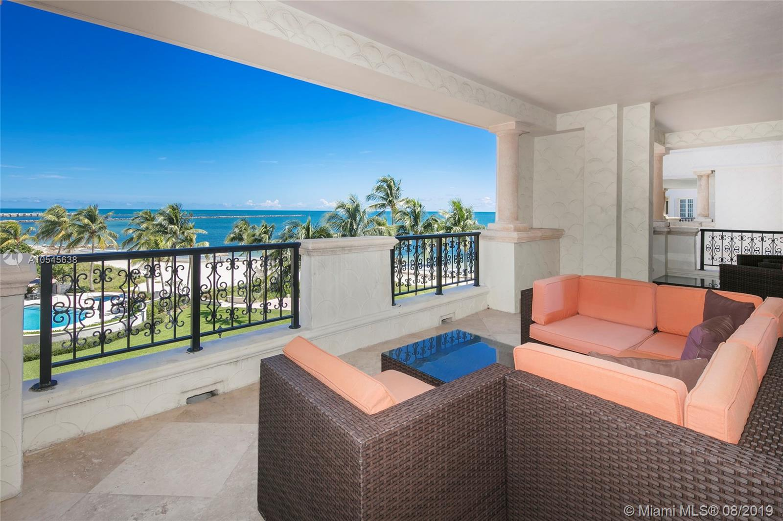 This beautiful 3BR/3+1BA Oceanside residence boasts 2,530 SF w/exquisite Travertine floors both inside & on the full wrapping balcony with spectacular sunrise views over the beach, Ocean & Government Cut.  An open floor plan features a gracious living room w/direct balcony access, gourmet kitchen with granite counter tops, & separate dining area, all with amazing ocean views. The Oceanside master suite has balcony access, & master bath w/large walk-in closet, glass shower & sunken Jacuzzi tub.  The other two bedrooms are each uniquely designed & one has a private balcony with views to the golf course & Downtown Miami.  An expansive wrapping terrace with comfortable seating areas, al fresco dining table and open views to the beach, ocean and Government Cut complete this beautiful unit.
