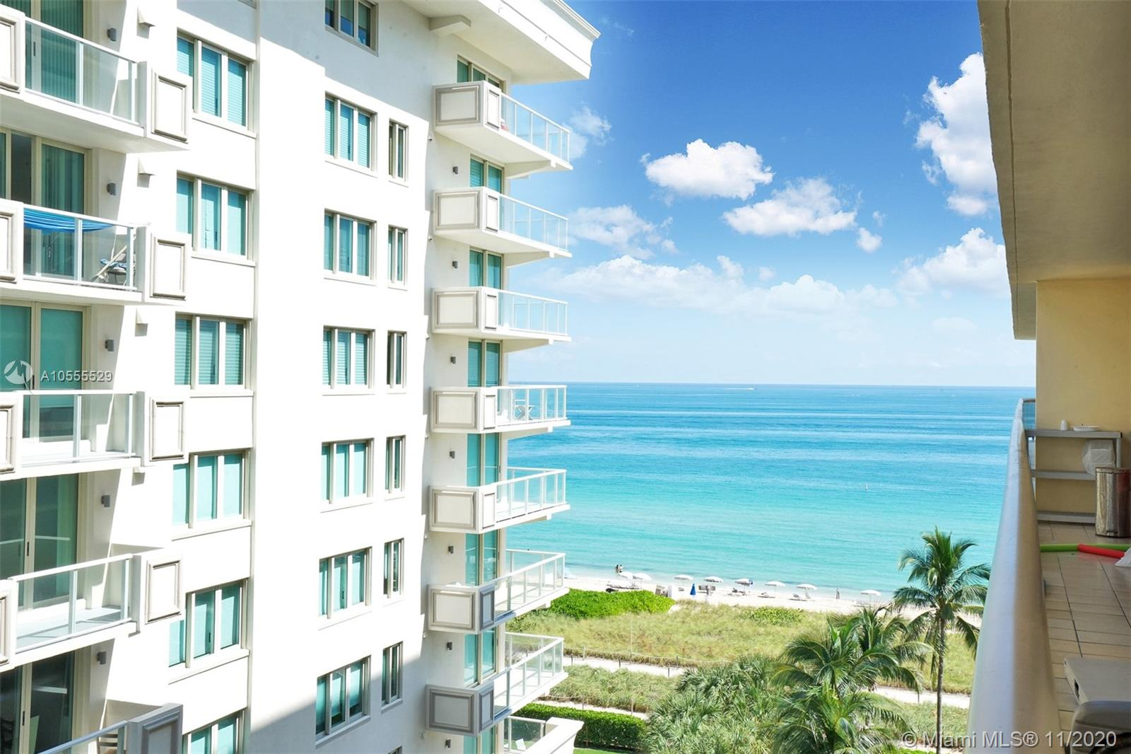 Live right on the beach in this spacious 2 bedroom, 2 bathroom waterfront unit at The Waves in Surfside! The best part of the unit is the floor to ceiling glass doors that lead to the enormous balcony with spectacular views of the ocean and bay. Both bedrooms and living room have access to the balcony.  This 1,260 SF unit offers tile floors throughout, updated kitchen with granite countertops, split bedrooms, and separate washer/dryer room. Building offers great amenities, including: valet parking, 24 hour concierge, fitness room, pool/spa area, sauna, direct beach access, and much more. Within walking distance to Bal Harbour Shops, grocery stores, award winning restaurants, and Places of Worship!