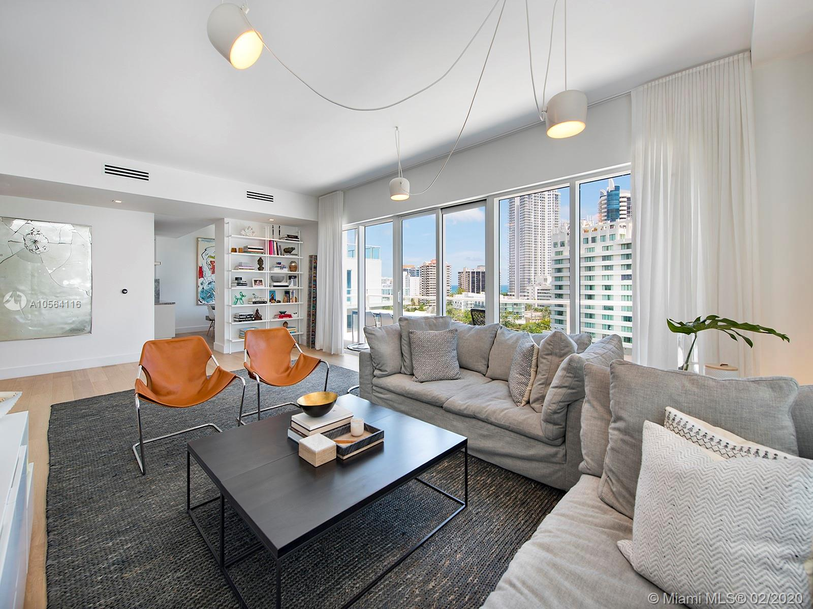 Breathtaking ocean, intracoastal and Miami Skyline views from this tastefully remodeled corner unit at the Spear building. This 3-bed/3.5-bath residence offers exquisite finishes including wood floors, white marble countertops, Wolf appliances and Italkraft kitchen cabinets. Access luxury amenities including a north and south pool, state-of-the-art fitness center, hot tub and child's play area. This gated island community is situated on 8.5 acres in close proximity to fine dining and shopping. Includes 2 assigned parking spaces: 151 and 207.