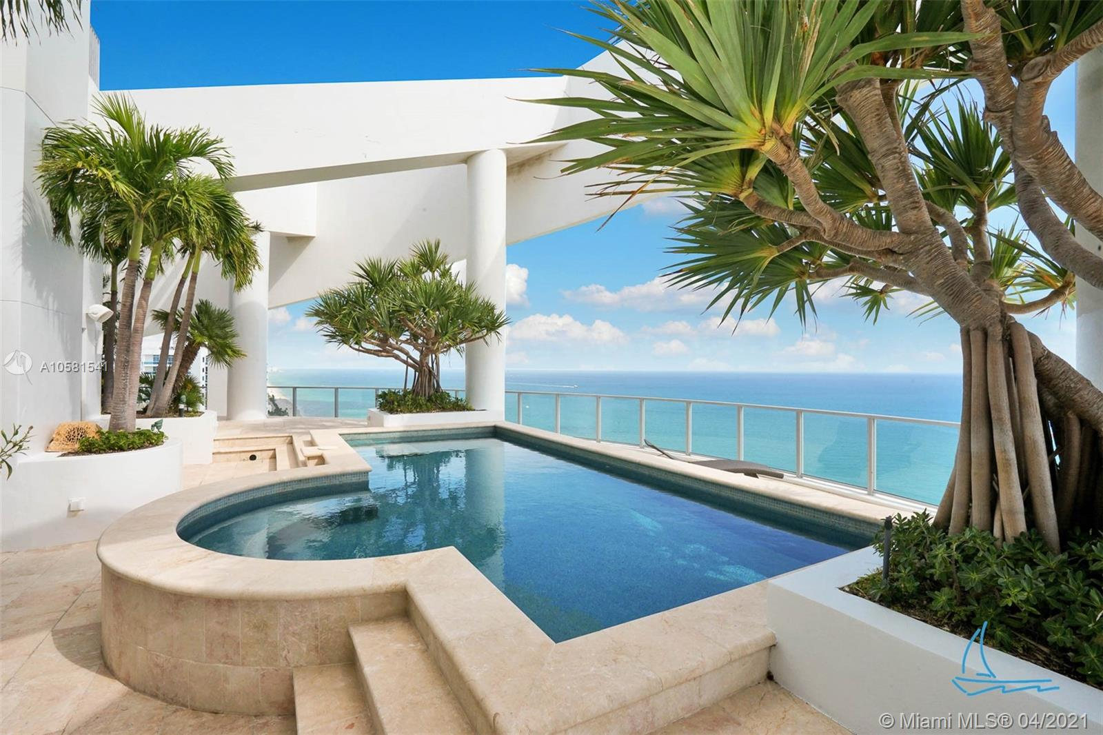 This rare and significant 3 floor PH will take your breath away. Enter through a private elevator to a grand view of the ocean adorned with a beautiful Chihuly Chandelier and an indoor waterfall spanning 2 floors in height. The countertops and design of this mansion in the sky have been  conceptualized and brought to life bringing South Floridas natural beauty of the ocean indoors. Other features of this gorgeous 5 bedroom residence include an in-home, personal, elevator to take you to the 3rd floor where you are enchanted by your own landscaped and light designed terrace with a pool, jacuzzi, and irrigation system. Outside of this gracious living space are 5 parking spots with built-out building entrance, gym, spa, and onsite restaurant.
